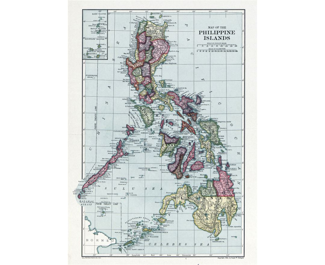 Large detailed old map of the Philippine islands - 1906
