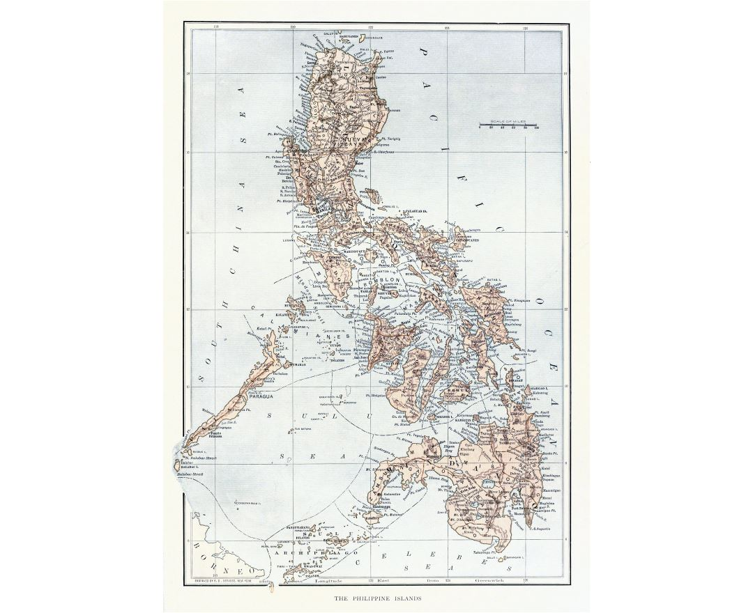 Large detailed old political and administrative map of Philippines with relief