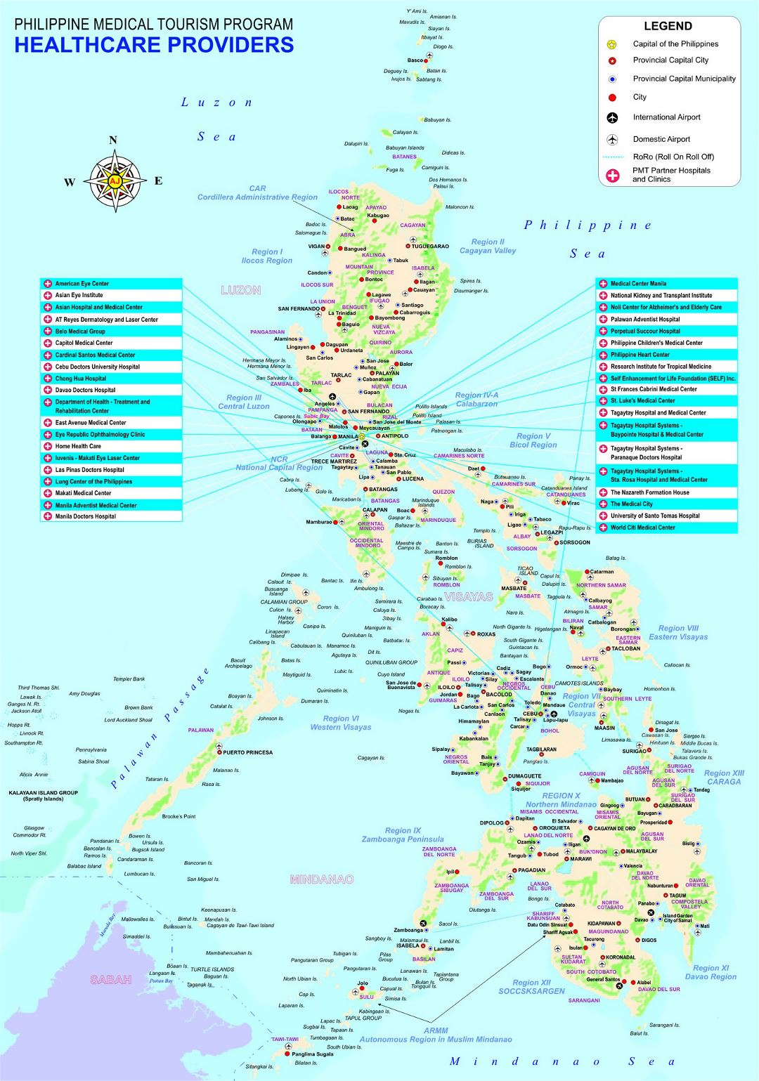 Large detailed Philippine Medical Tourism Program map with other marks