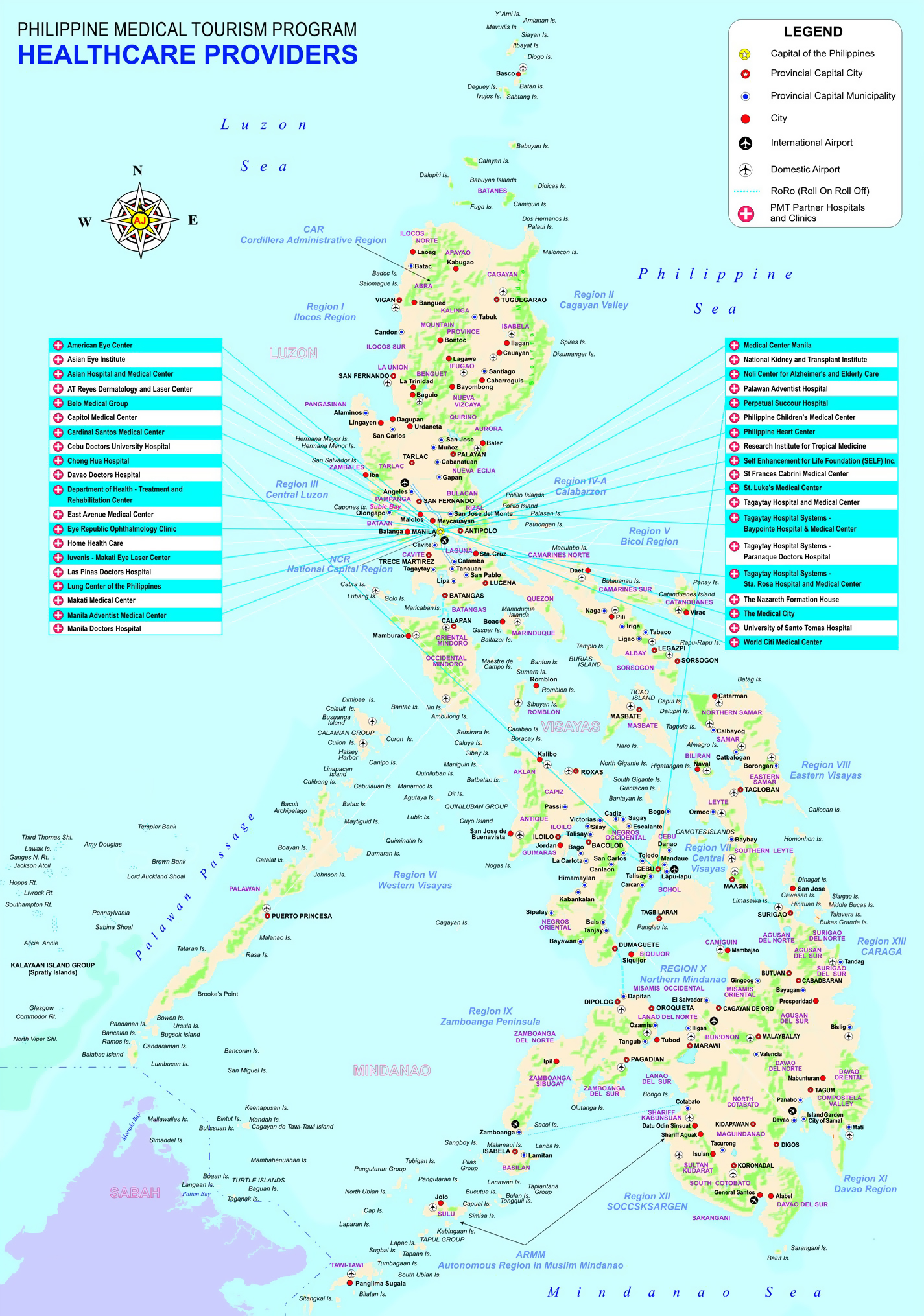 Large detailed Philippine Medical Tourism Program map with other