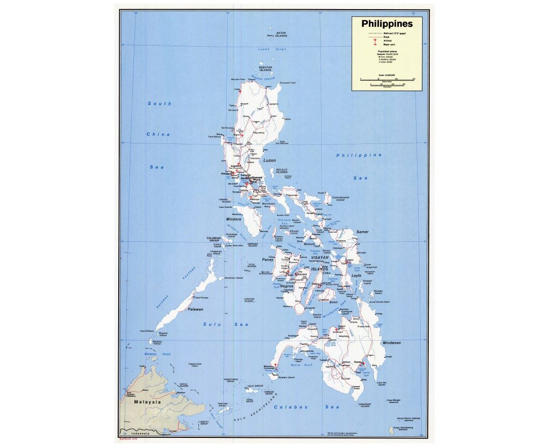Large detailed political map of Philippines with roads, cities, seaports and airports - 1973