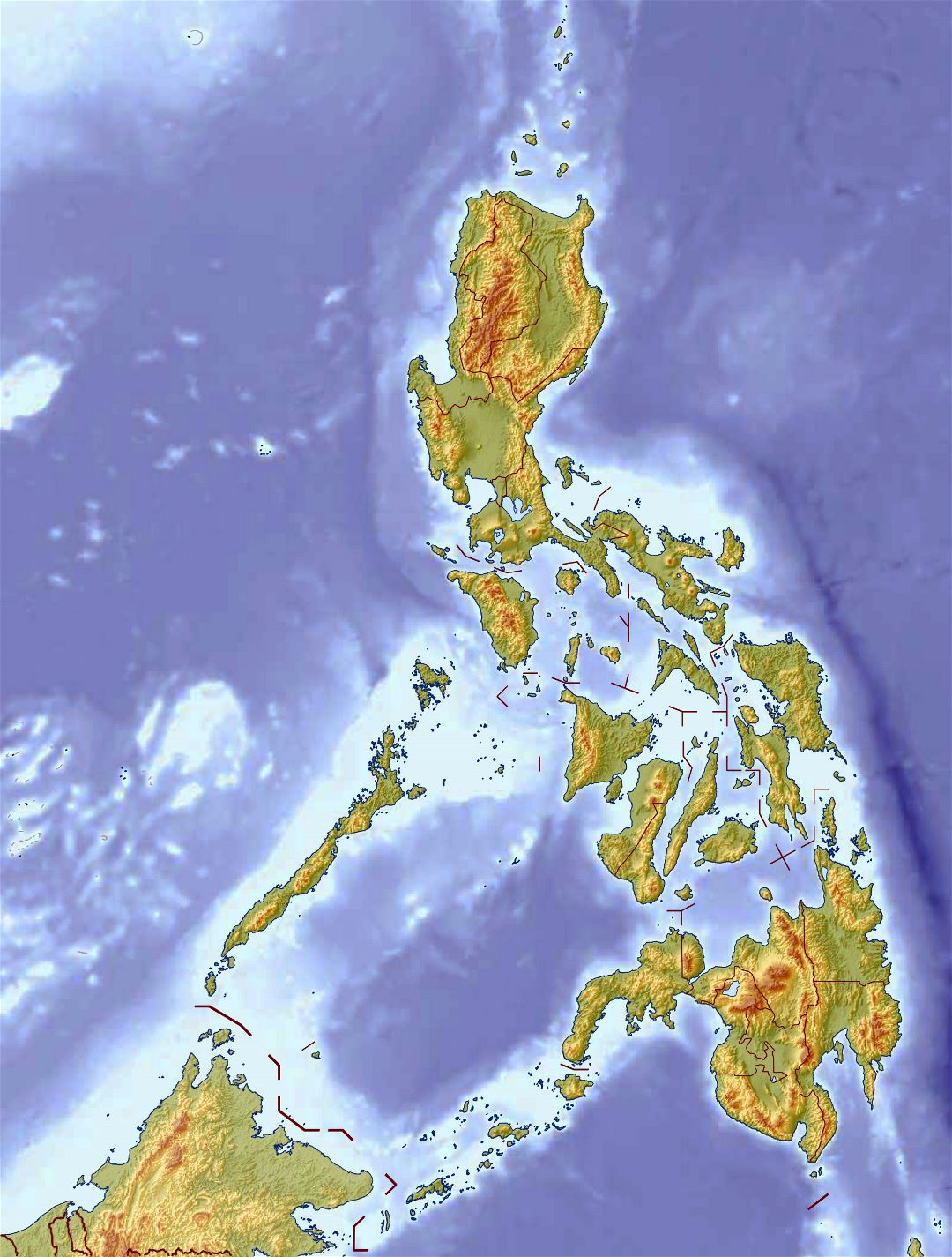 Large detailed relief map of Philippines