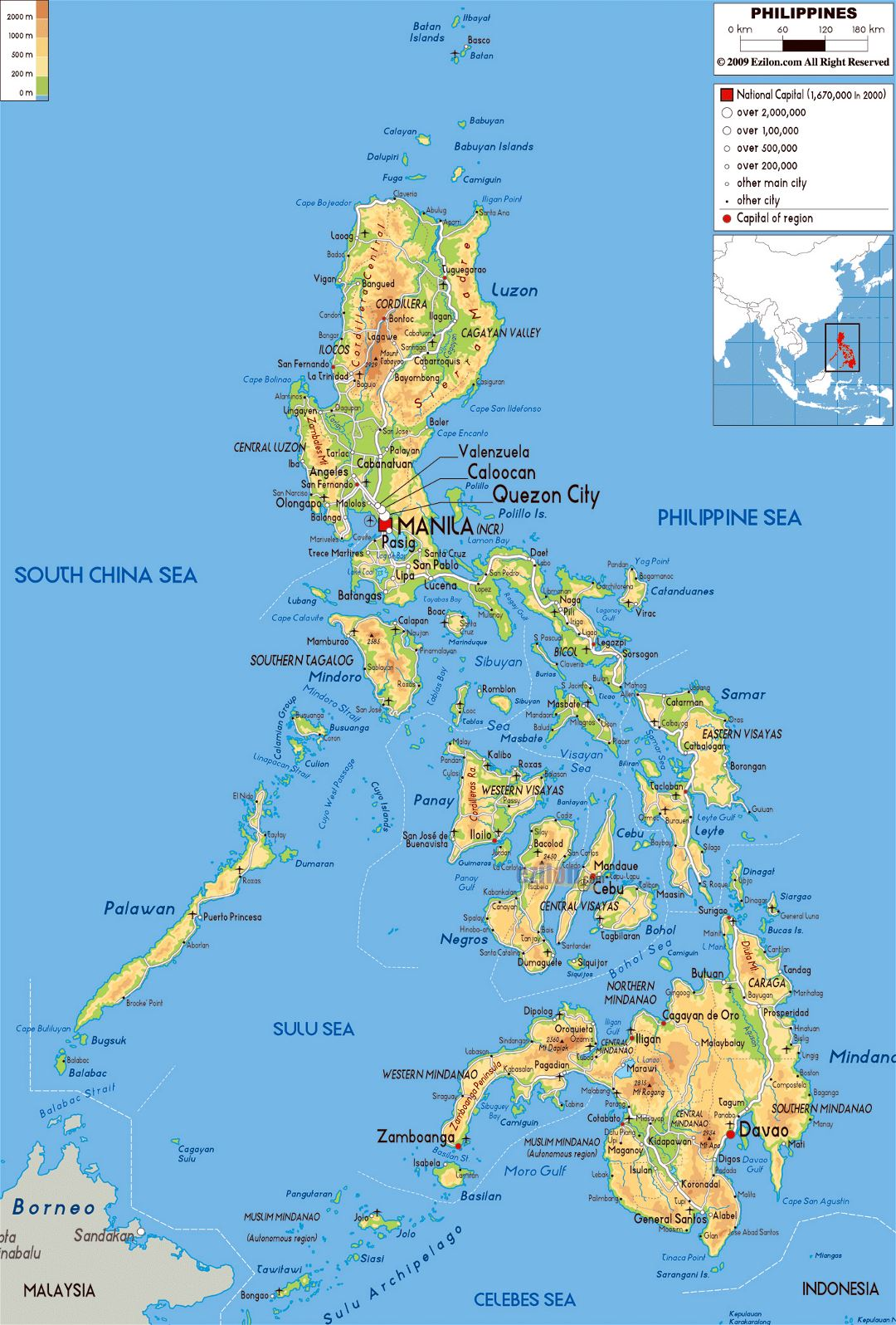 Large physical map of Philippines with roads, cities and airports