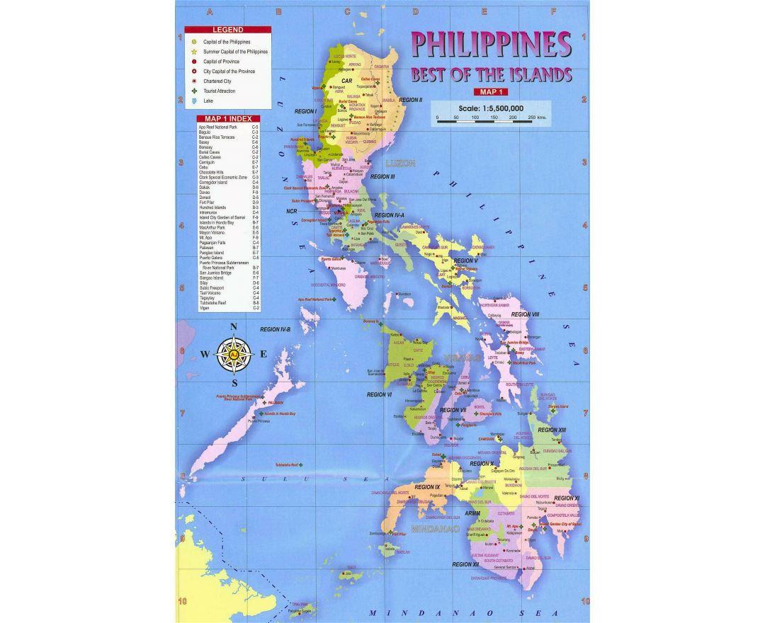 Large political and administrative map of Philippines