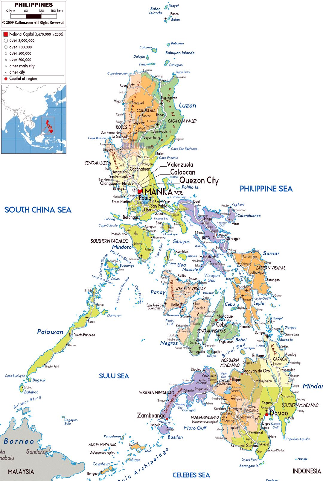 Large political and administrative map of Philippines with roads, cities and airports
