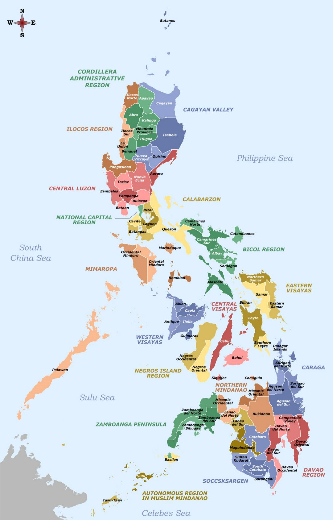 Large provinces and regions map of Philippines