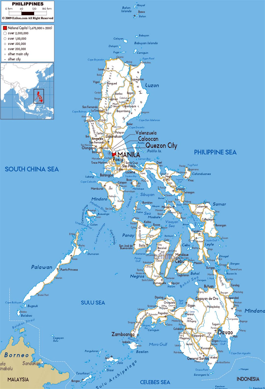 Large road map of Philippines with cities and airports