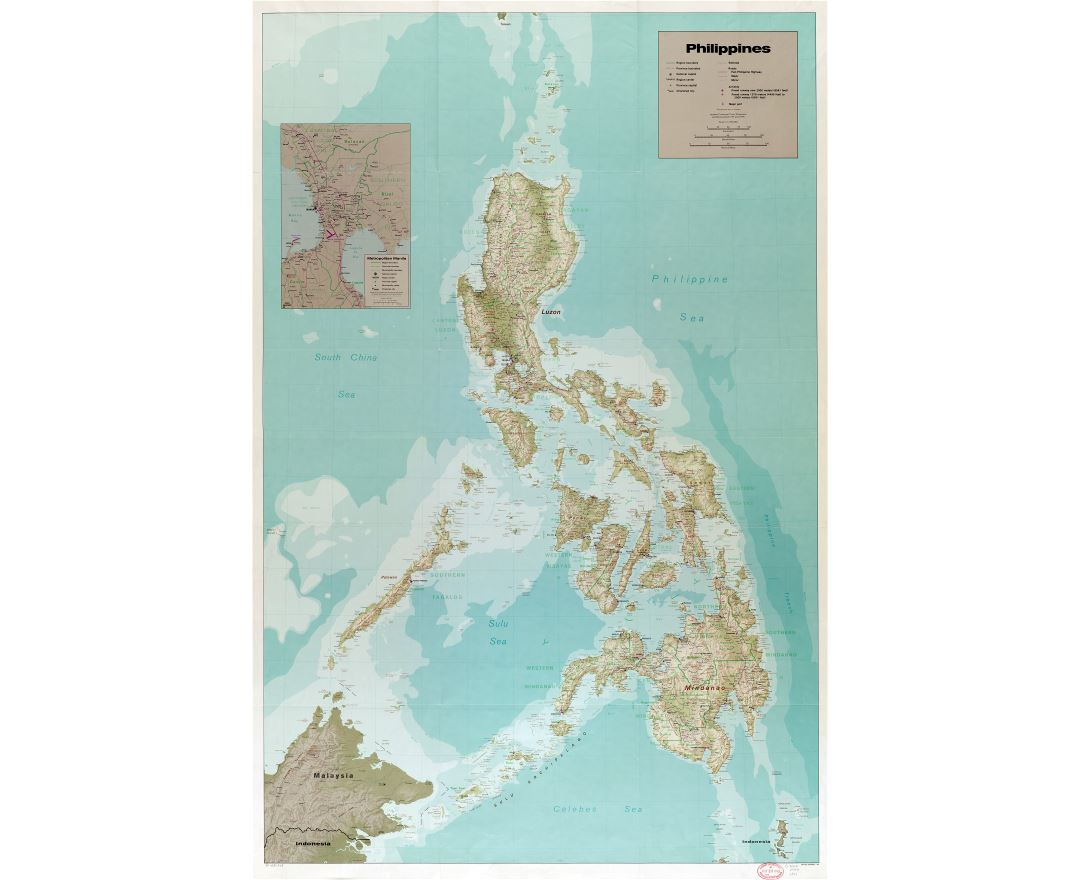 Large scale detailed political and administrative map of Philippines with relief, roads, railroads, all cities, airports, ports and other marks - 1990