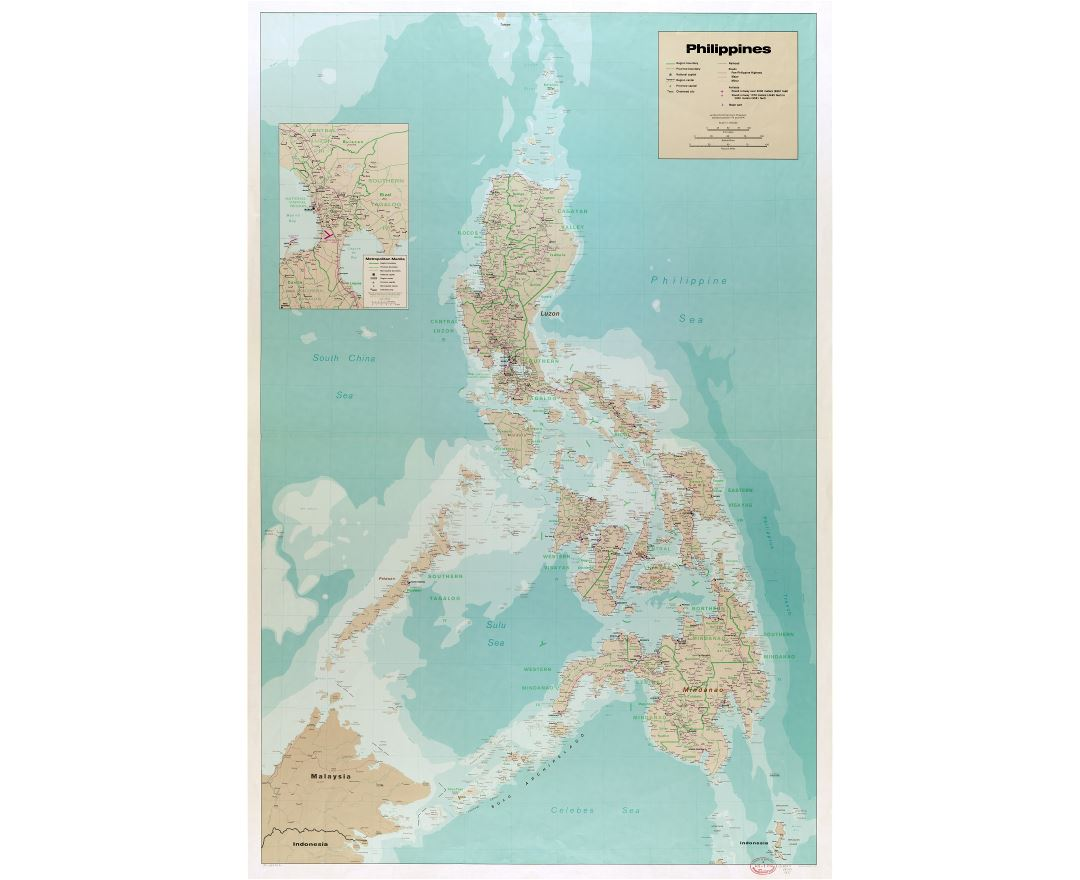 Large scale detailed political and administrative map of Philippines with roads, railroads, all cities, airports, ports and other marks - 1990