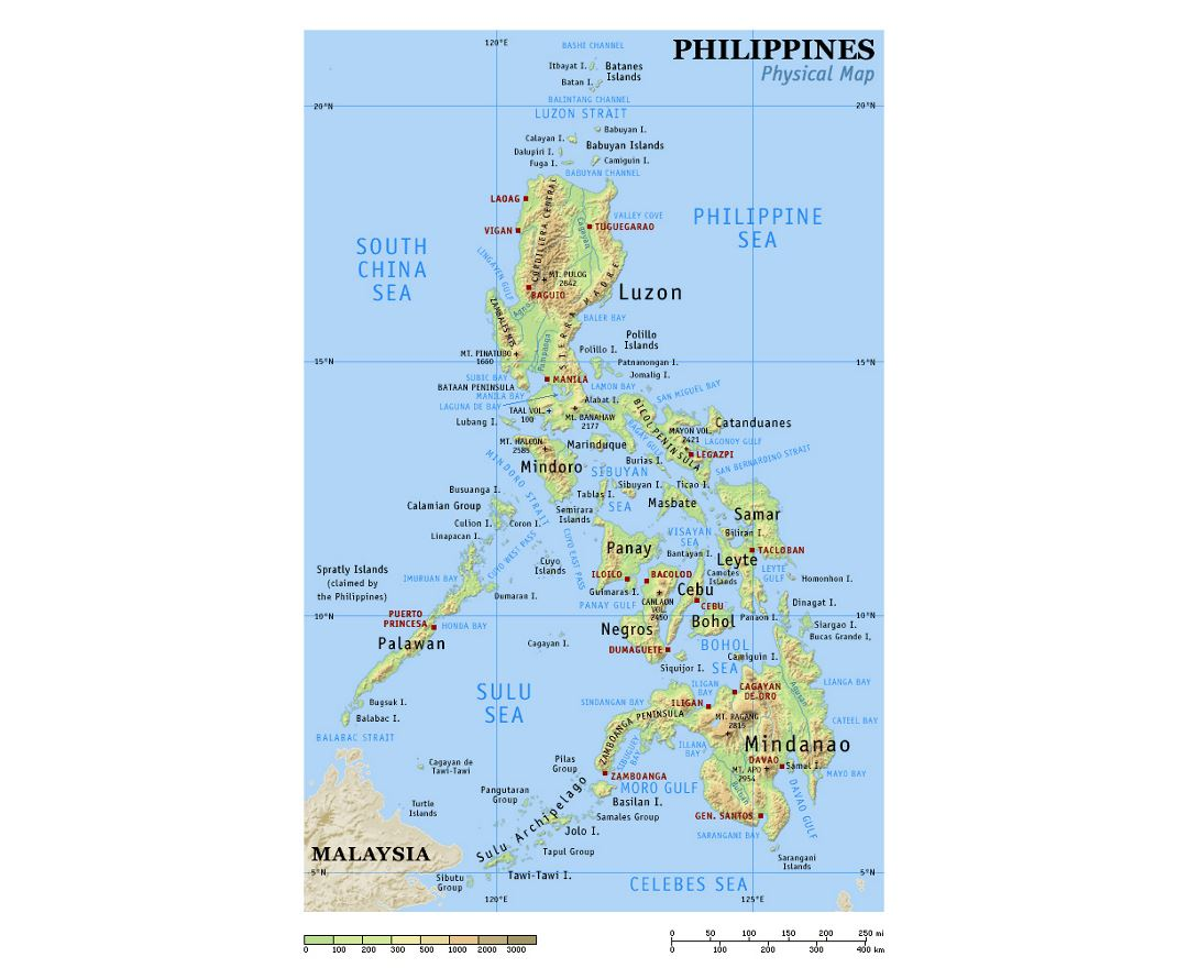 Physical map of Philippines