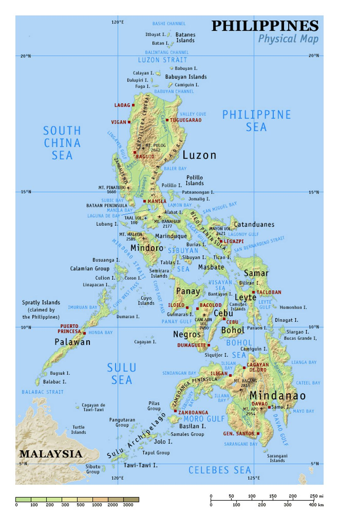 physical map of philippines small