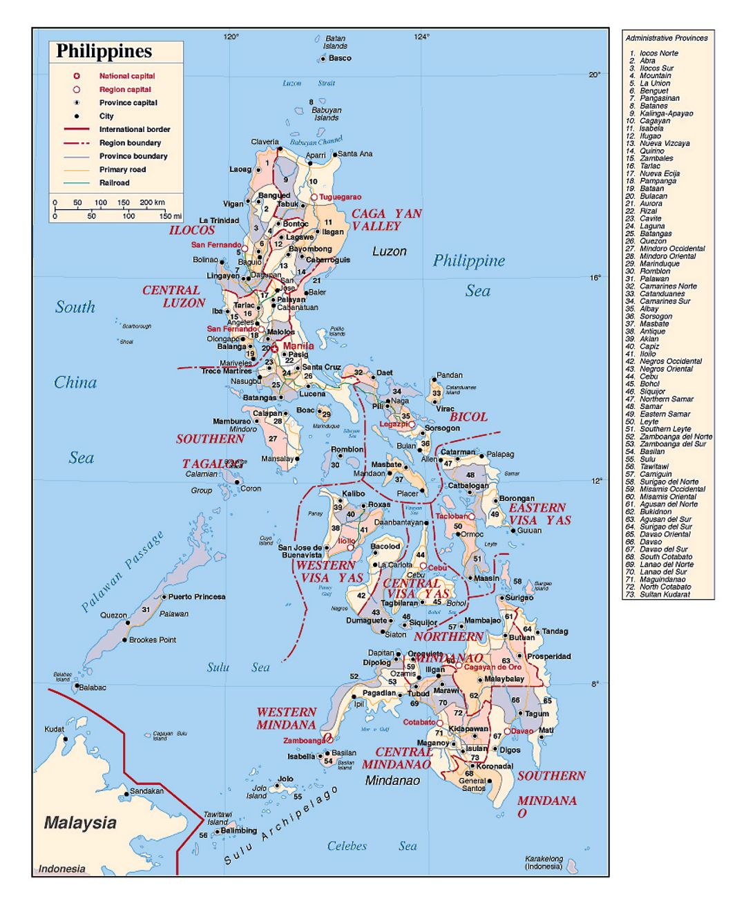 Political and administrative divisions map of Philippines