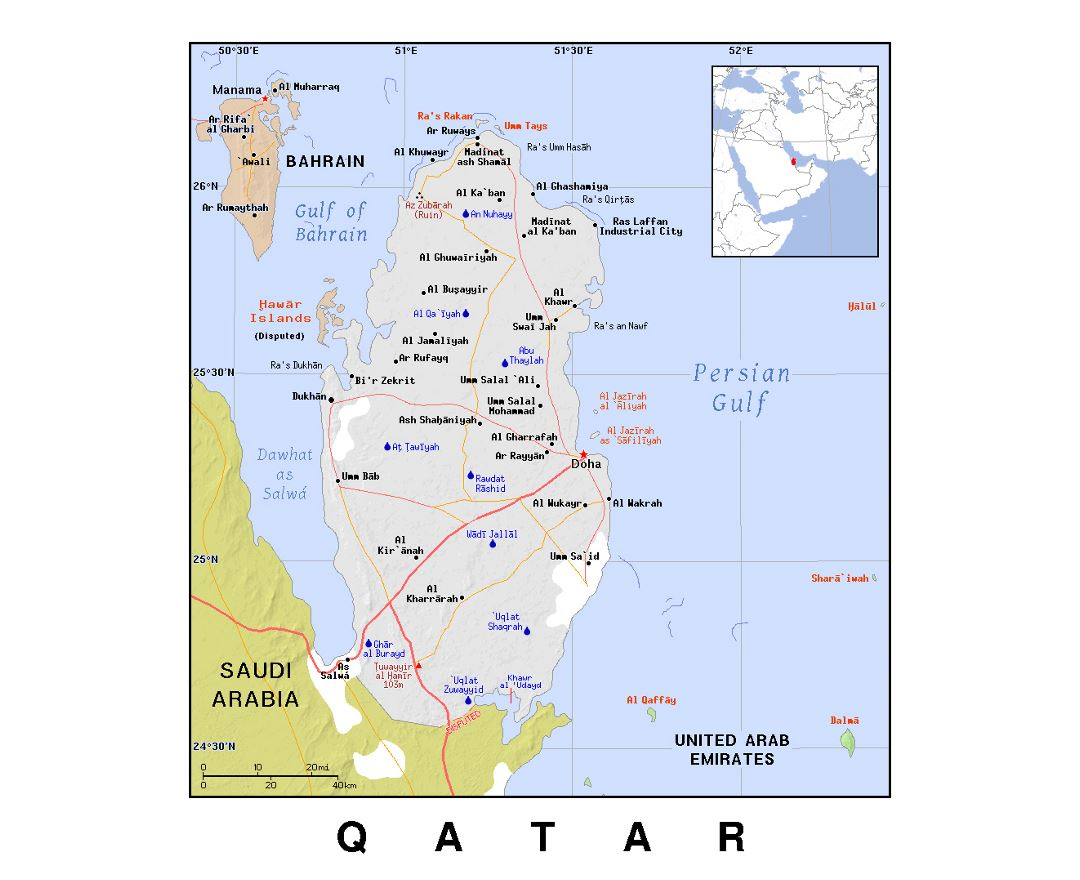 Detailed political map of Qatar with relief