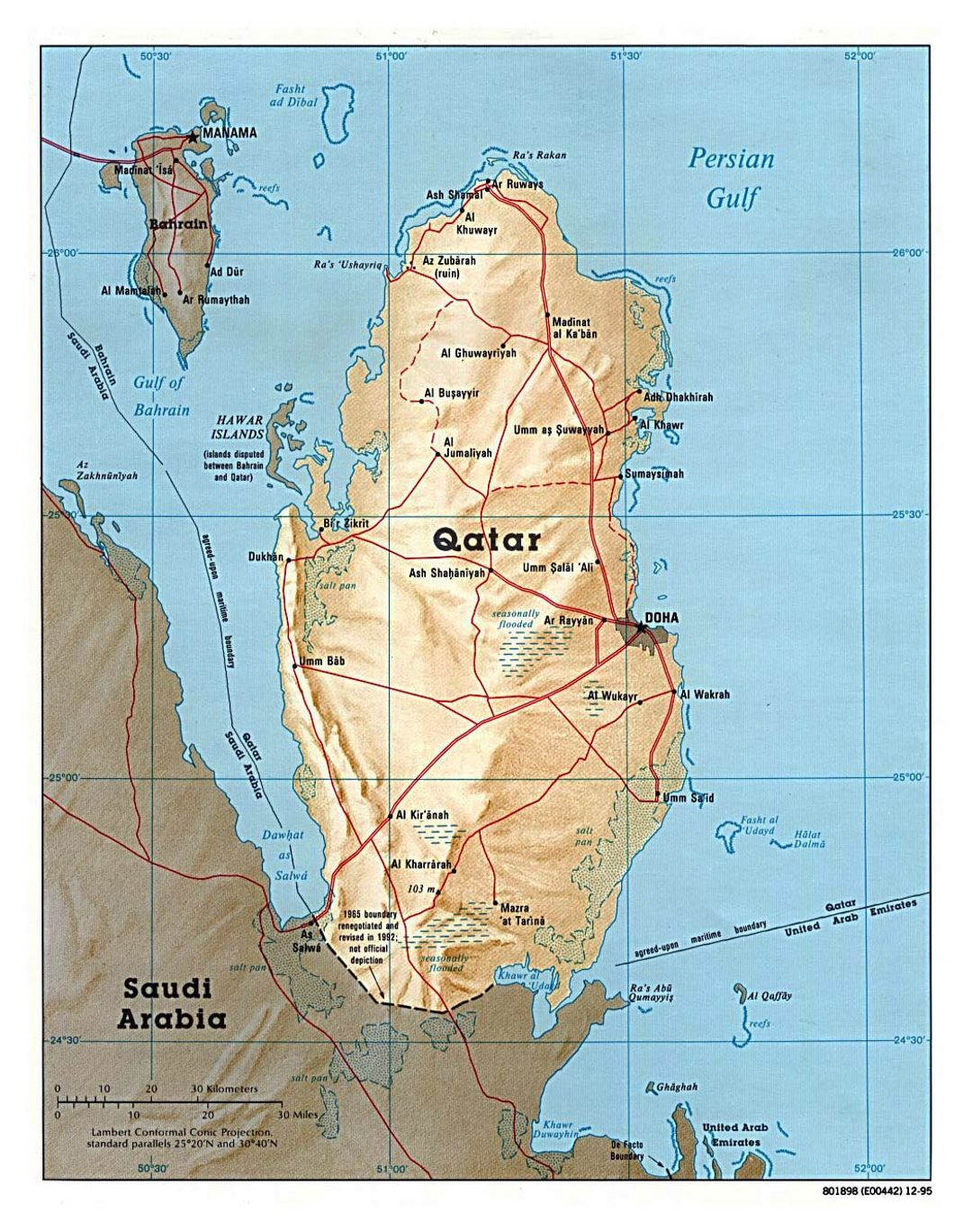 Detailed political map of Qatar with relief, roads and cities - 1995