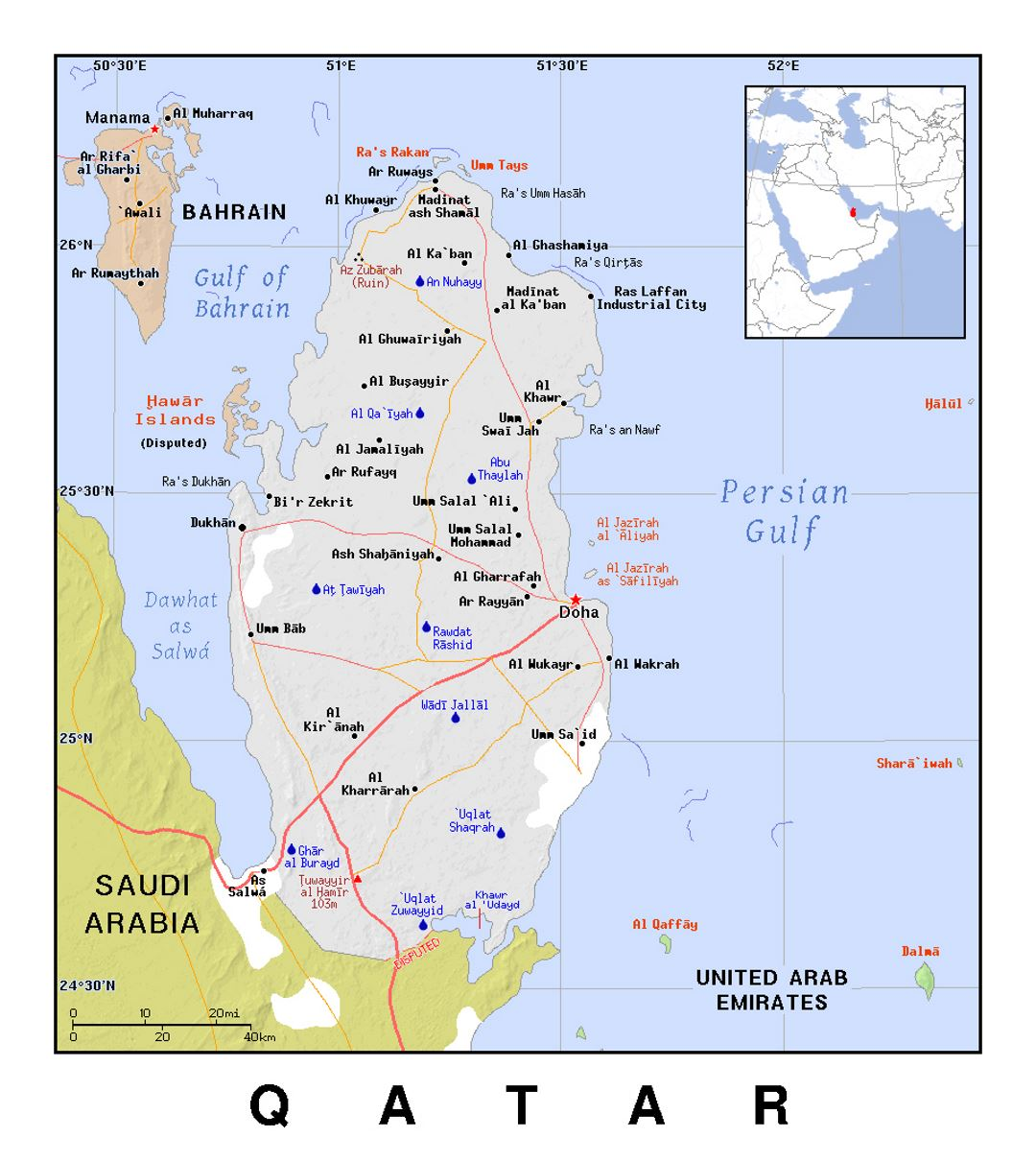 Detailed political map of Qatar with relief | Qatar | Asia ... on