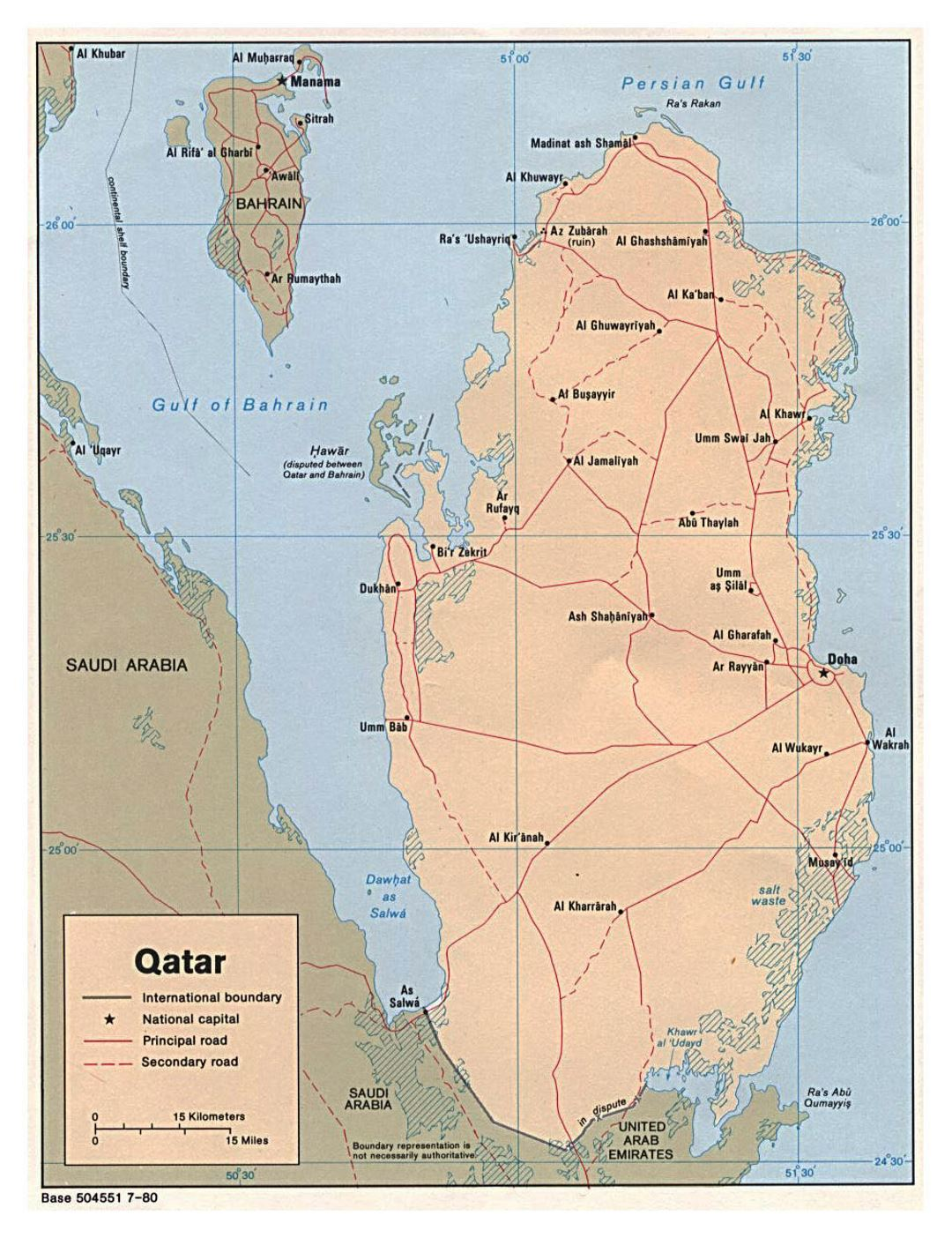 Detailed political map of Qatar with roads and cities - 1980