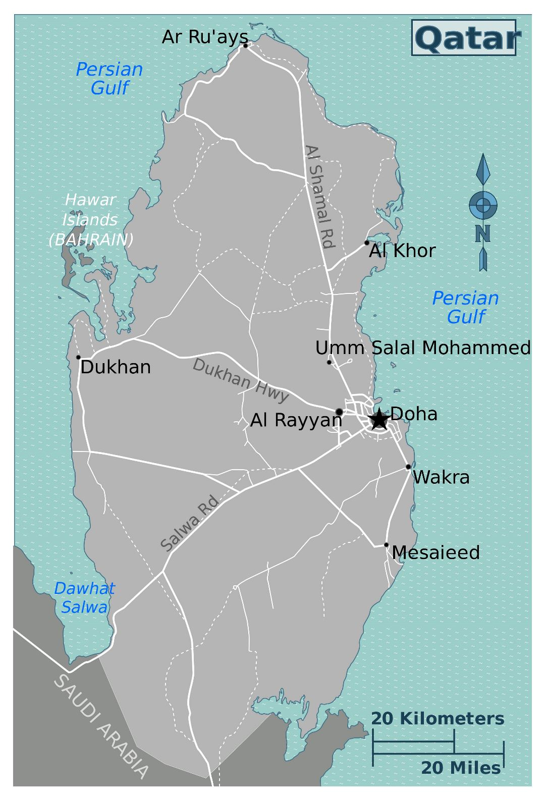 Large detailed map of Qatar