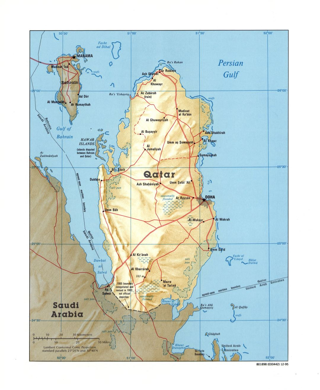 Large detailed political map of Qatar with relief, roads and cities - 1995