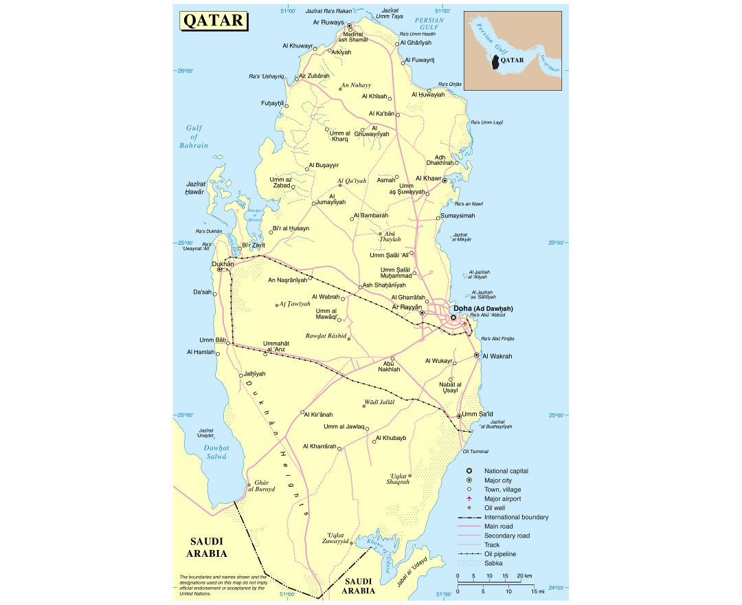 Large detailed political map of Qatar with roads, cities, airports and other marks
