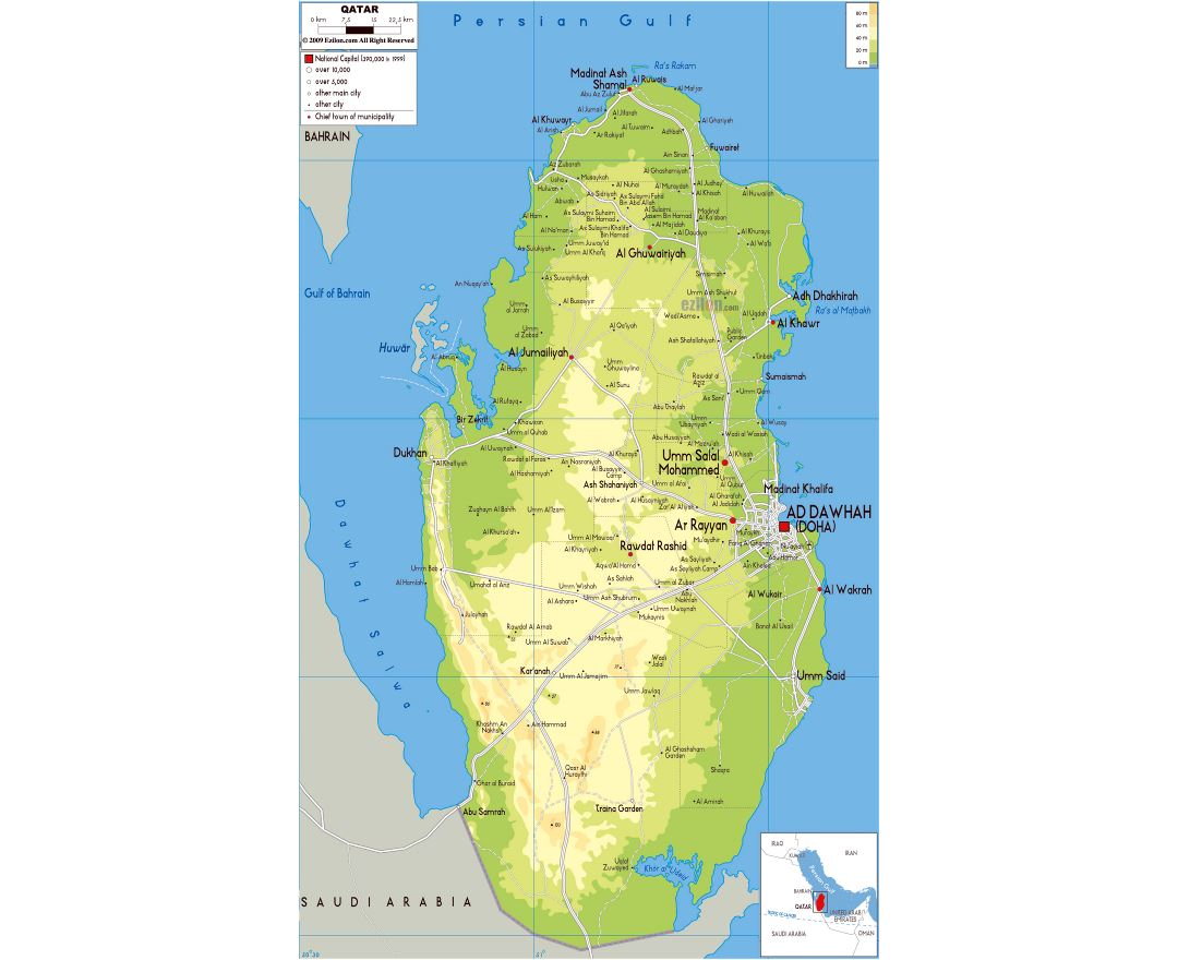 Maps of qatar detailed map of qatar in english tourist map large physical map of qatar with roads cities and airports publicscrutiny Images