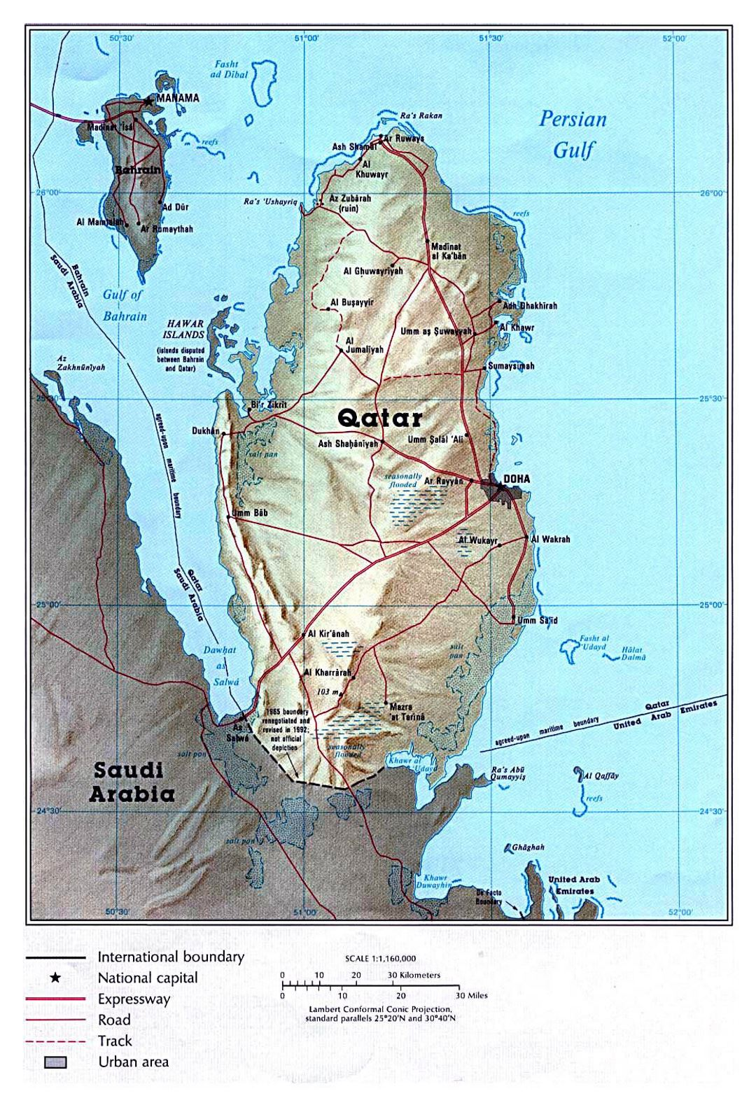 Large political map of Qatar with relief, roads and cities