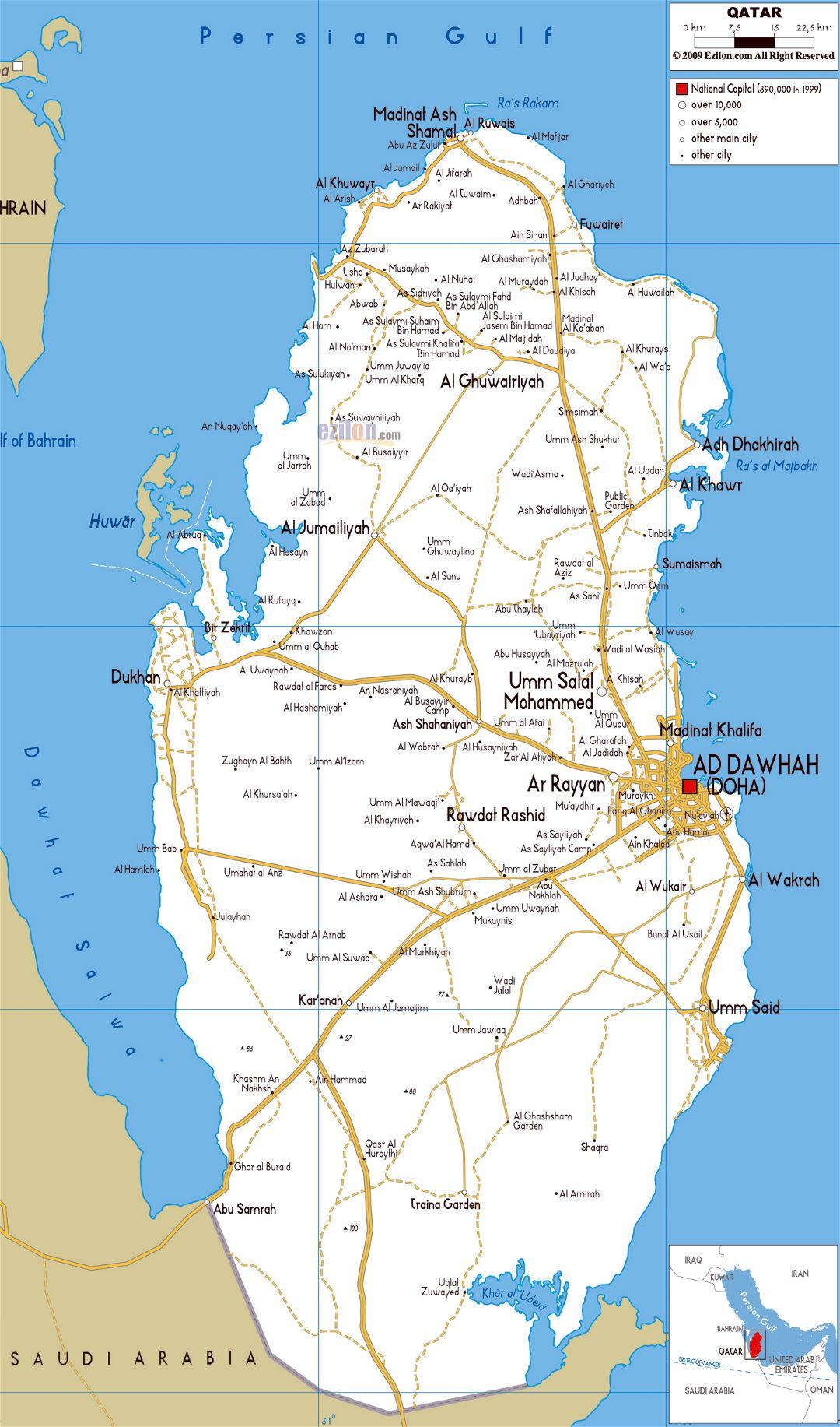 Large road map of Qatar with cities and airports