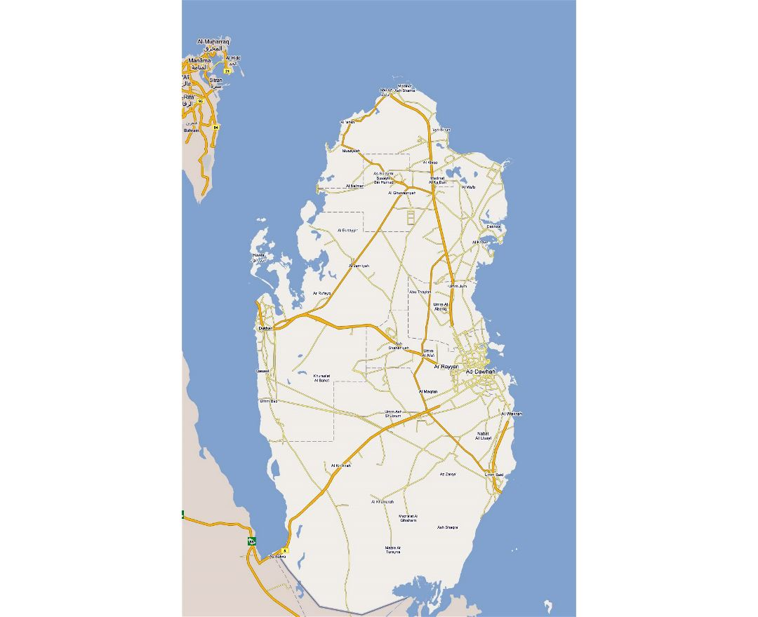 Large road map of Qatar with cities