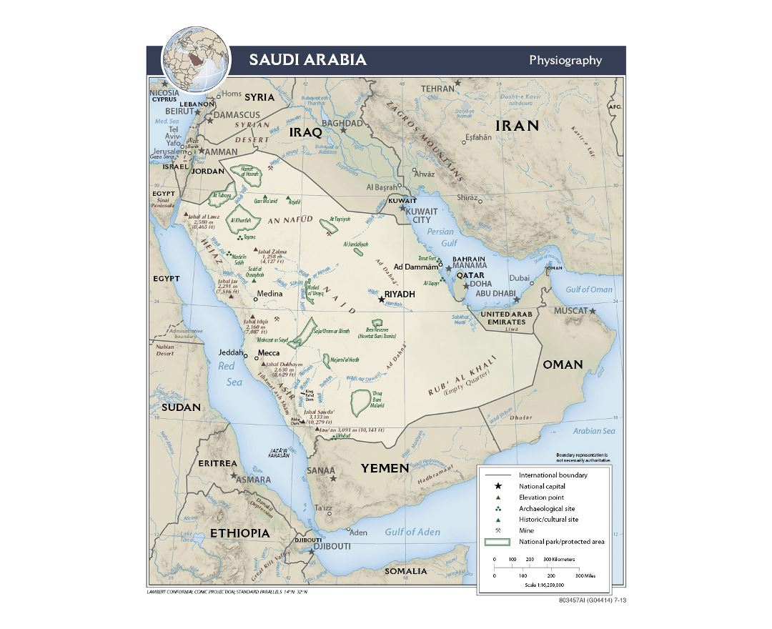 detailed physiography map of saudi arabia 2013