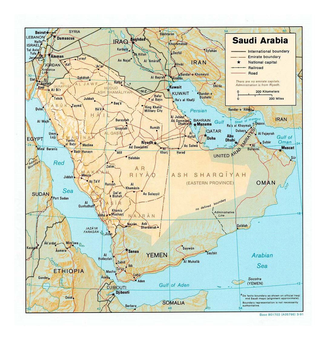 Detailed political and administrative map of Saudi Arabia with relief, roads, railroads and major cities - 1991