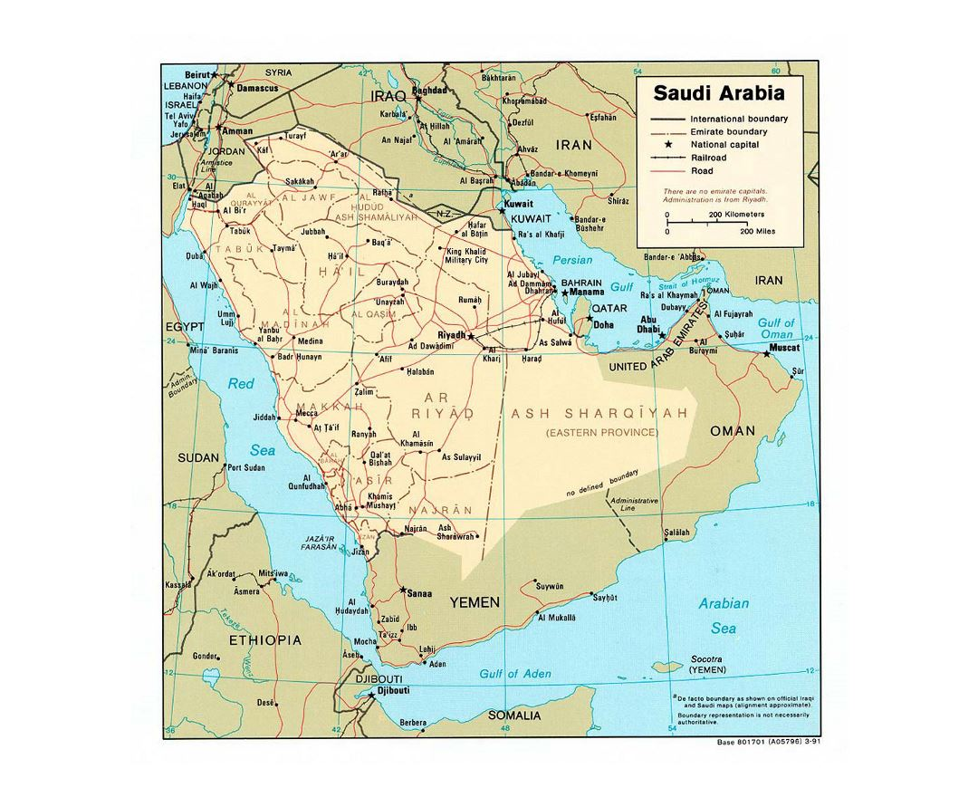 Maps of saudi arabia detailed map of saudi arabia in english detailed political and administrative map of saudi arabia with roads railroads and major cities sciox Gallery