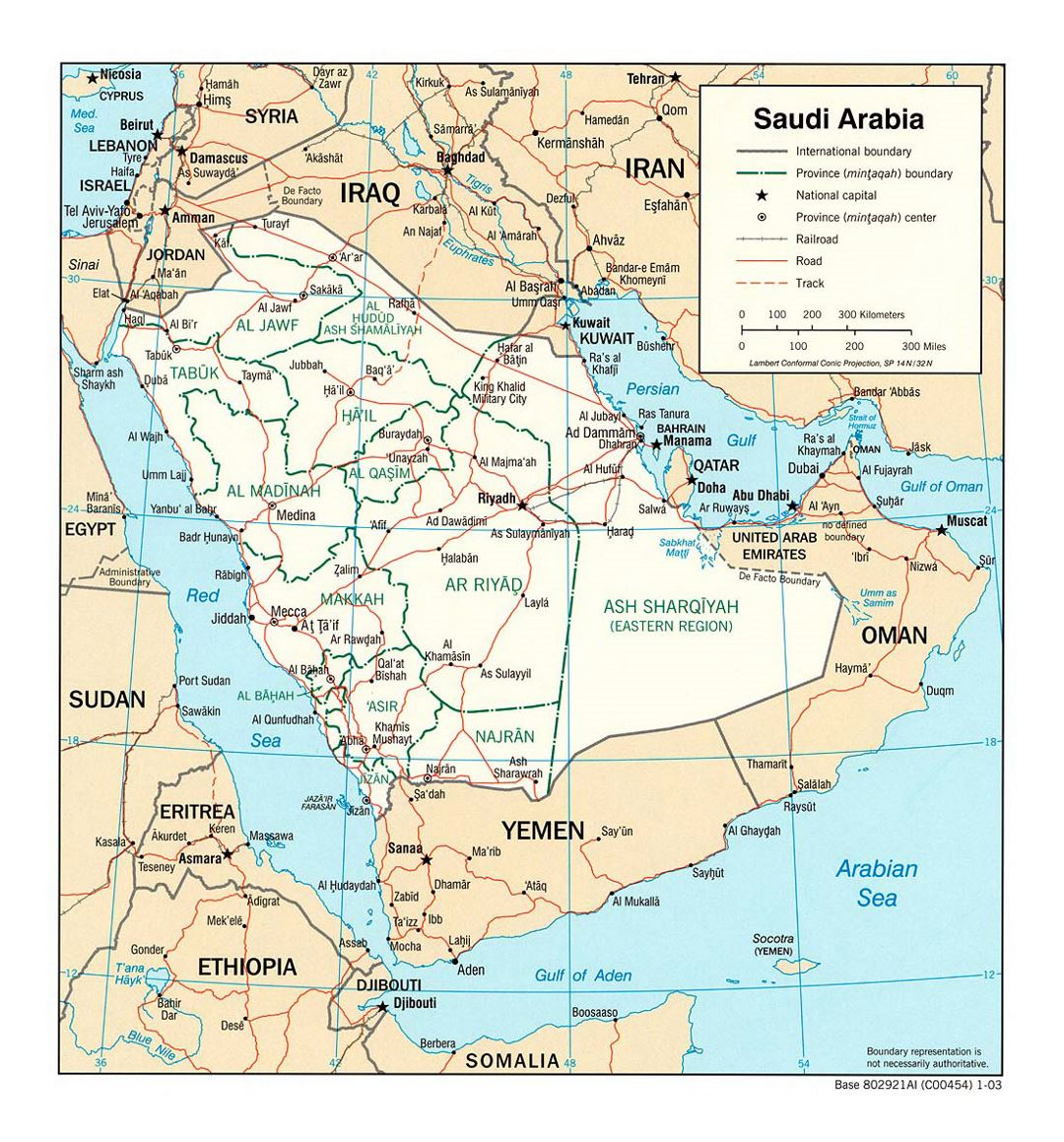 Detailed political and administrative map of Saudi Arabia with roads, railroads and major cities - 2003