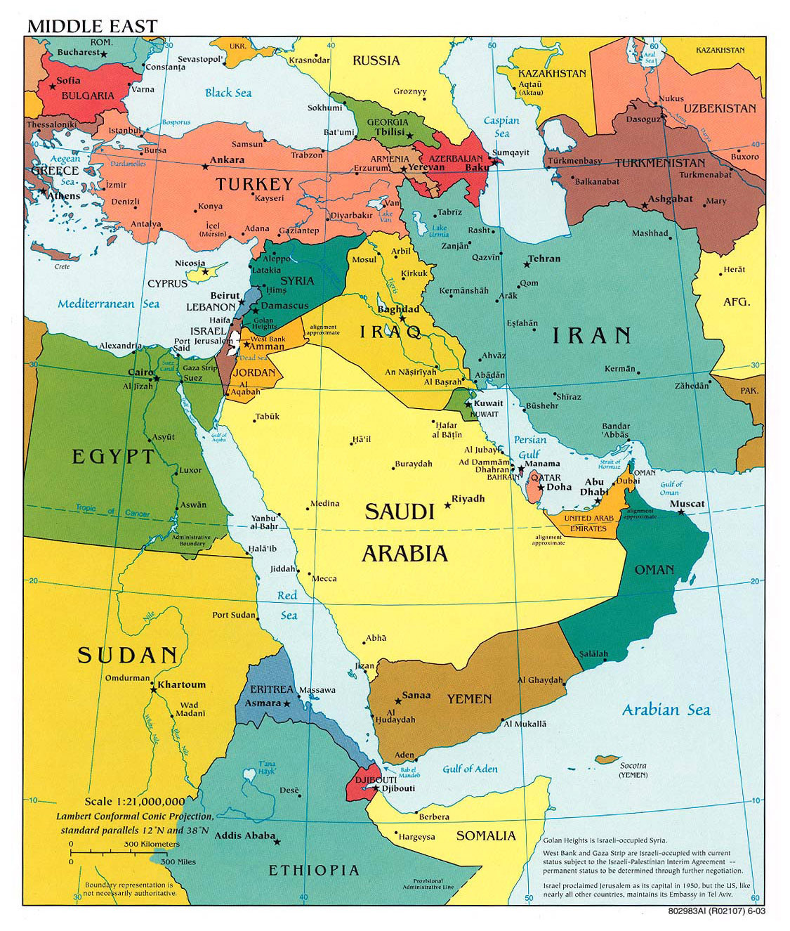 Detailed political map of Middle East with major cities 2003