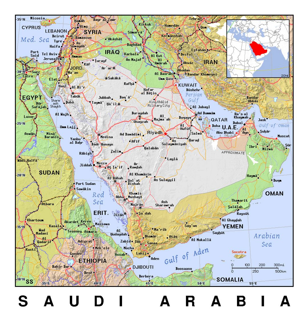 Detailed Political Map Of Saudi Arabia With Relief Saudi Arabia
