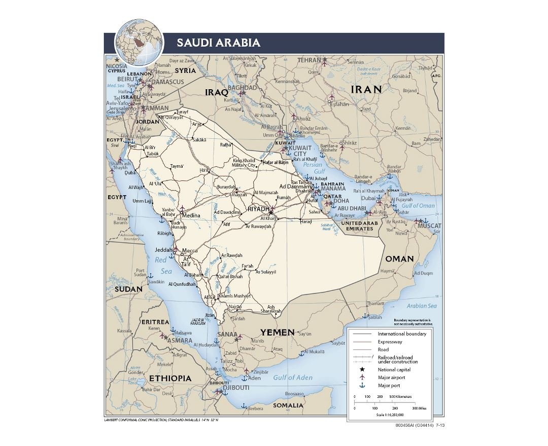detailed political map of saudi arabia with roads railroads ports airports and major