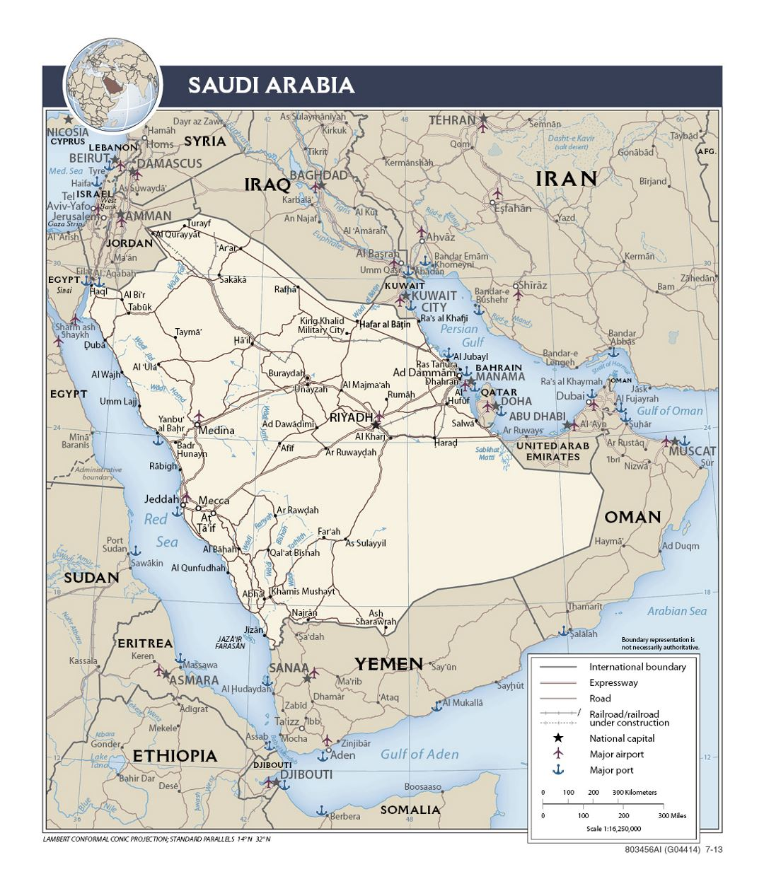 Detailed political map of Saudi Arabia with roads, railroads, ports, airports and major cities - 2013