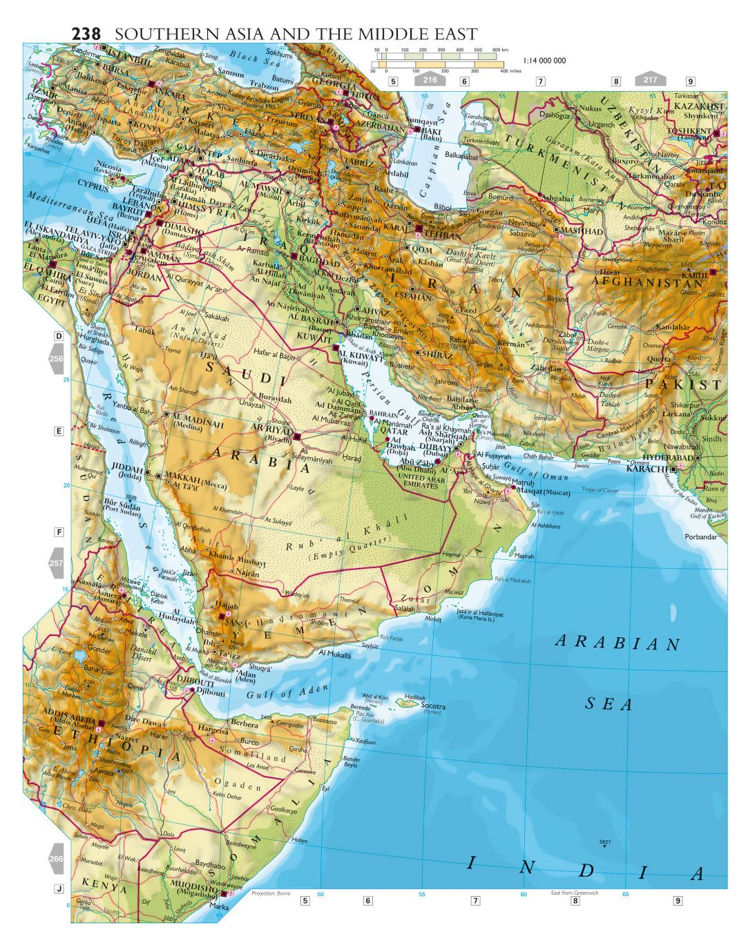 Large detailed elevation map of Southern Asia and the Middle East