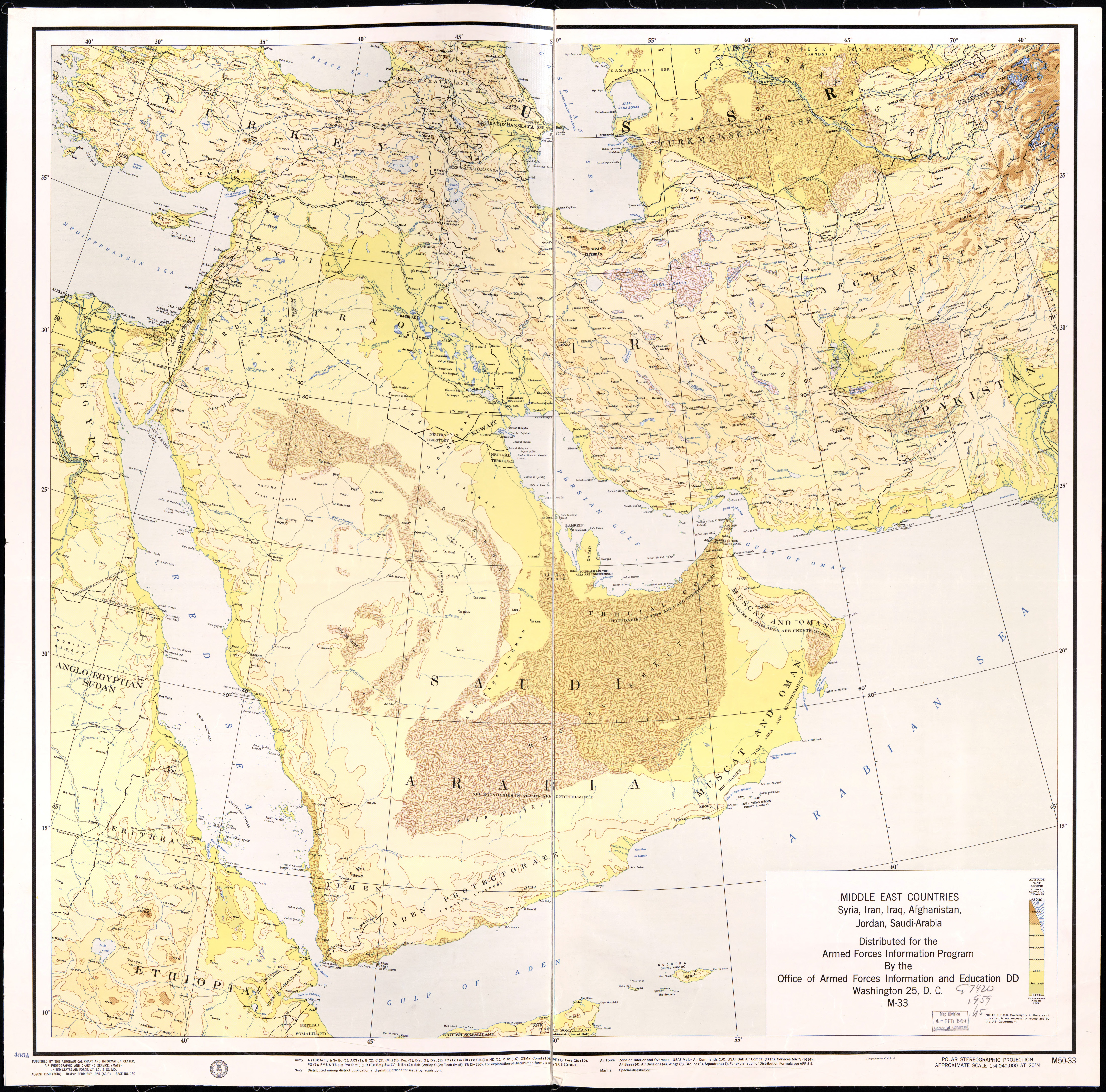 Large detailed elevation map of the Middle East Countries - Syria ...