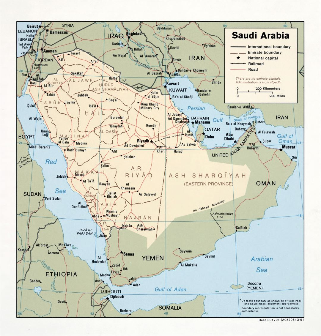 Large detailed political and administrative map of Saudi Arabia with roads, railroads and major cities - 1991