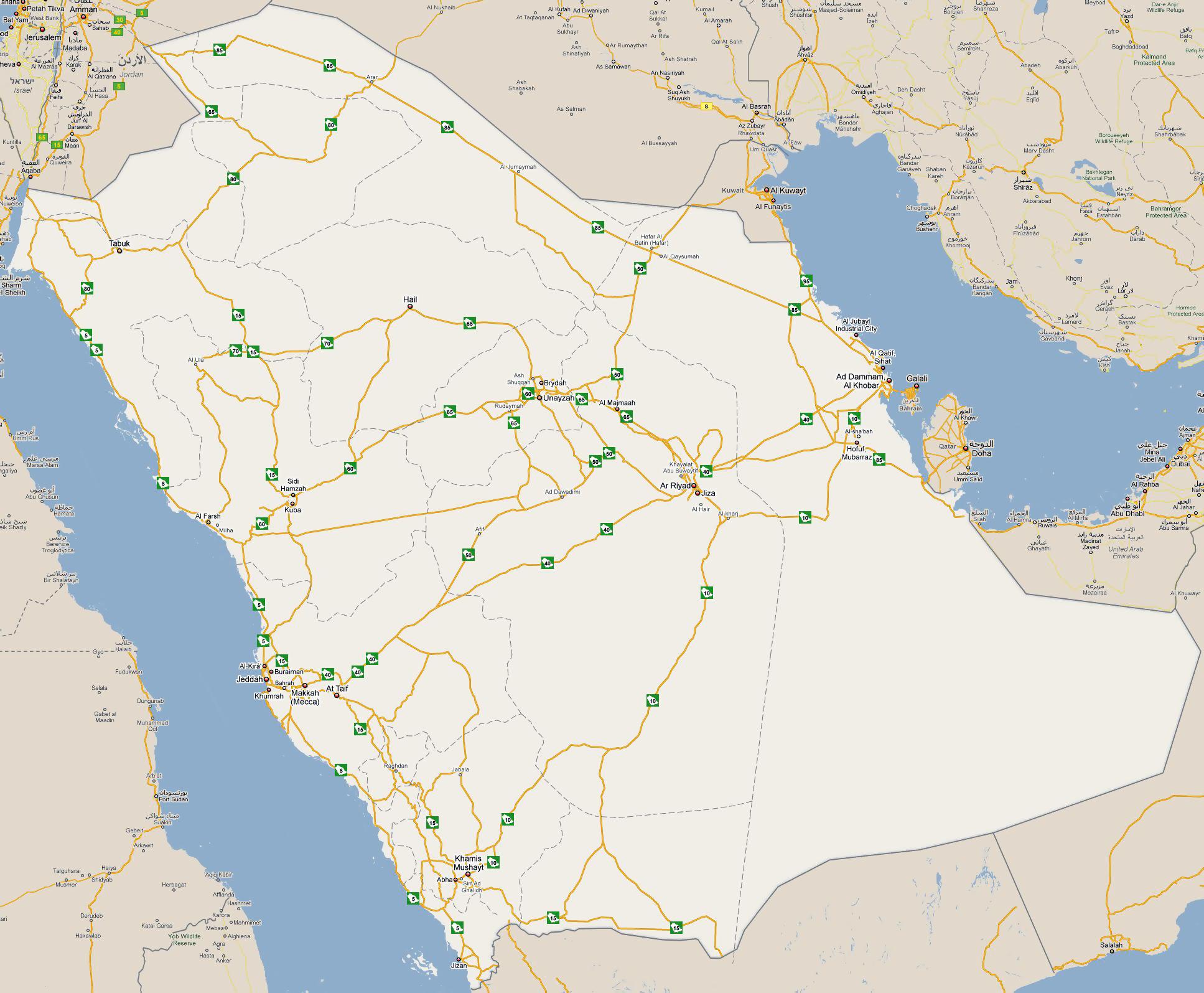 Large detailed road map of Saudi Arabia Saudi Arabia Asia