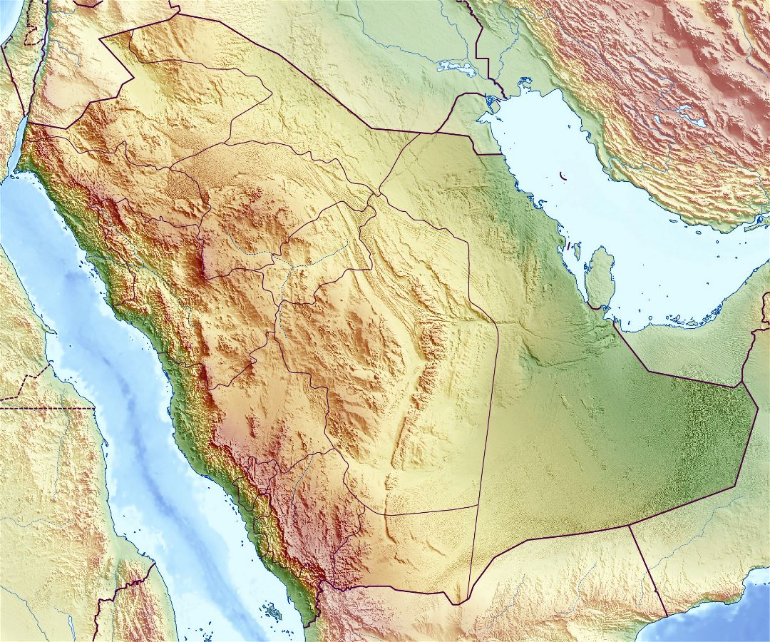 Large relief map of Saudi Arabia