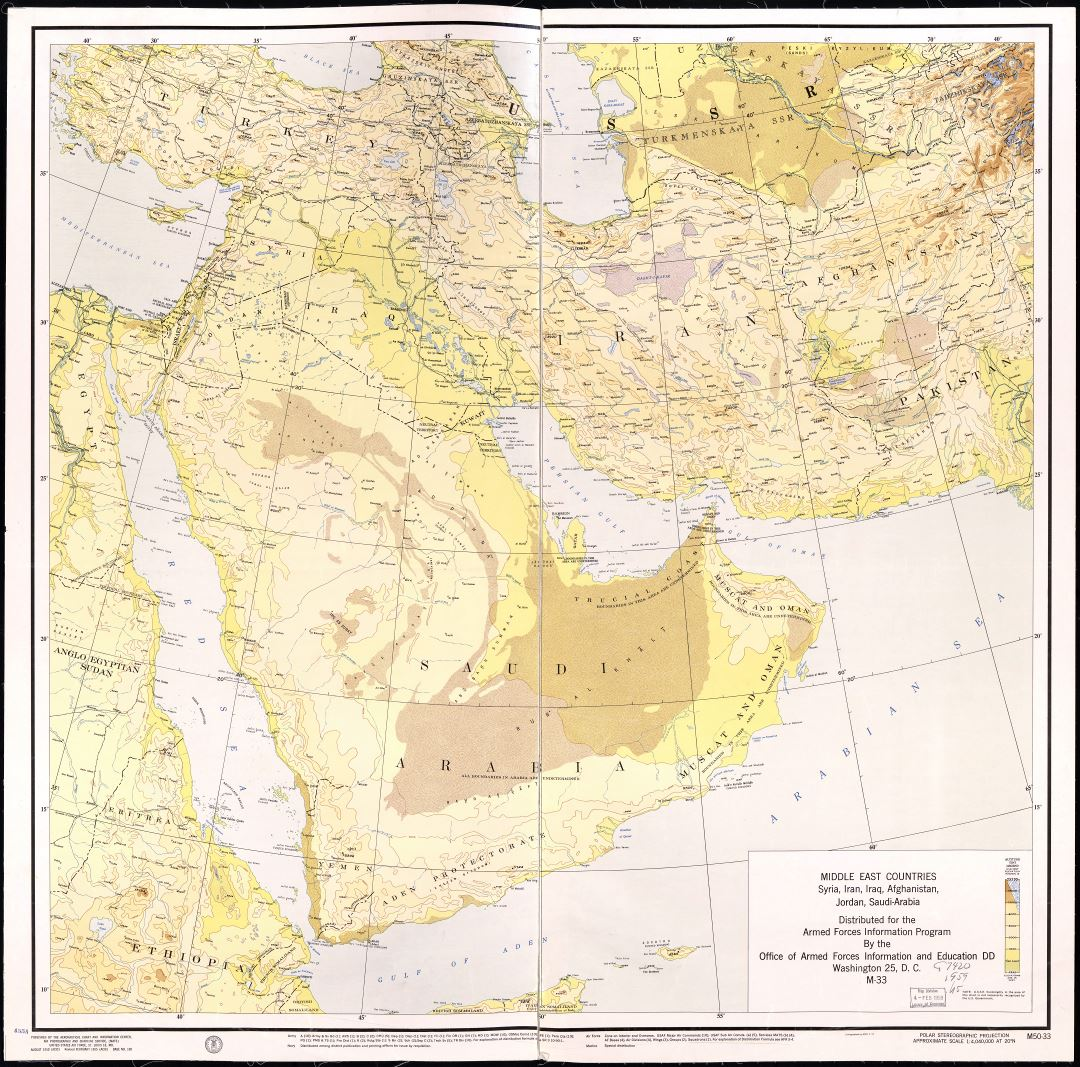 Large scale detailed elevation map of the Middle East Countries - Syria, Iran, Iraq, Afghanistan, Jordan and Saudi Arabia - 1955