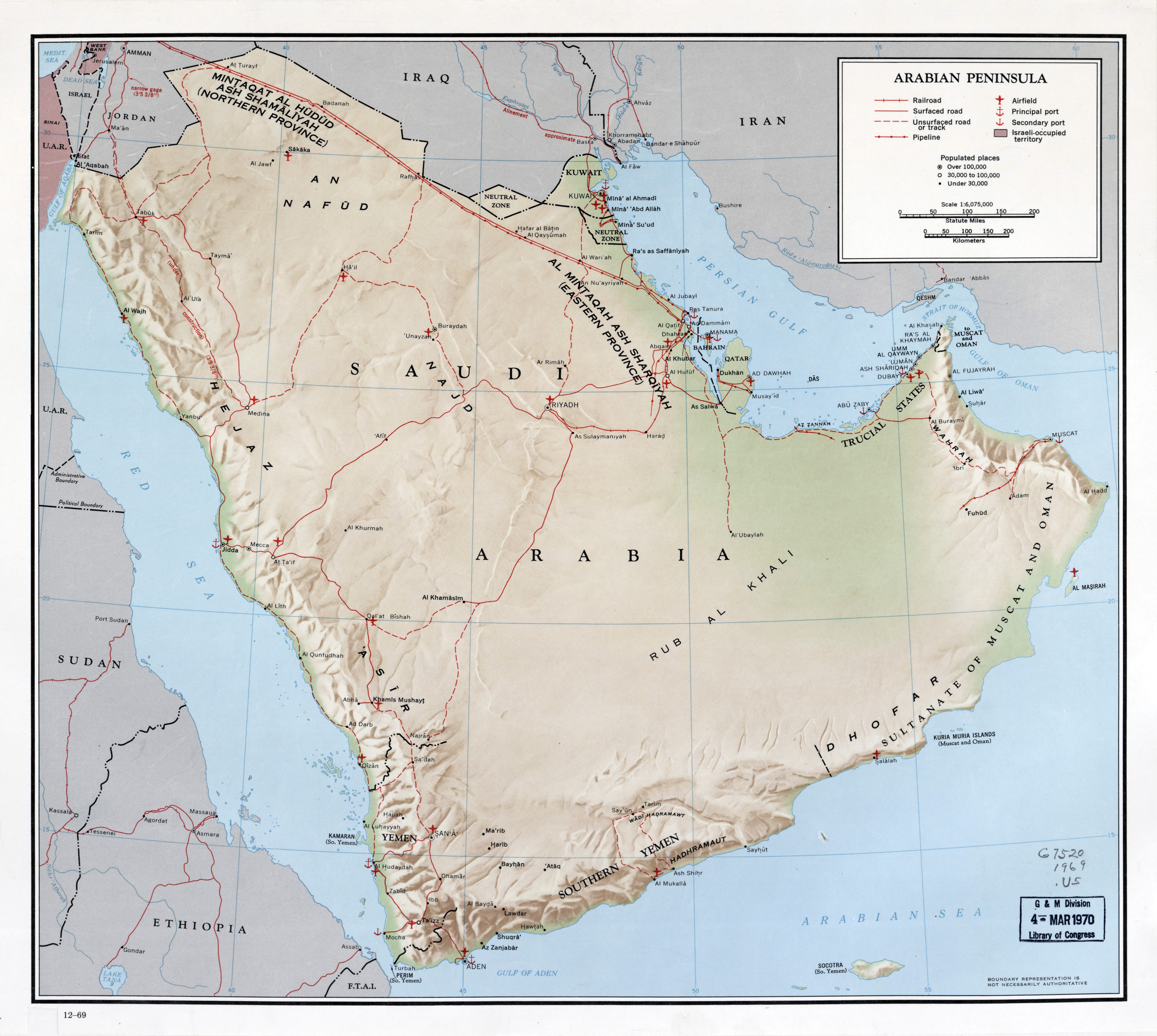 Large scale map of Arabian Peninsula with relief, roads ...
