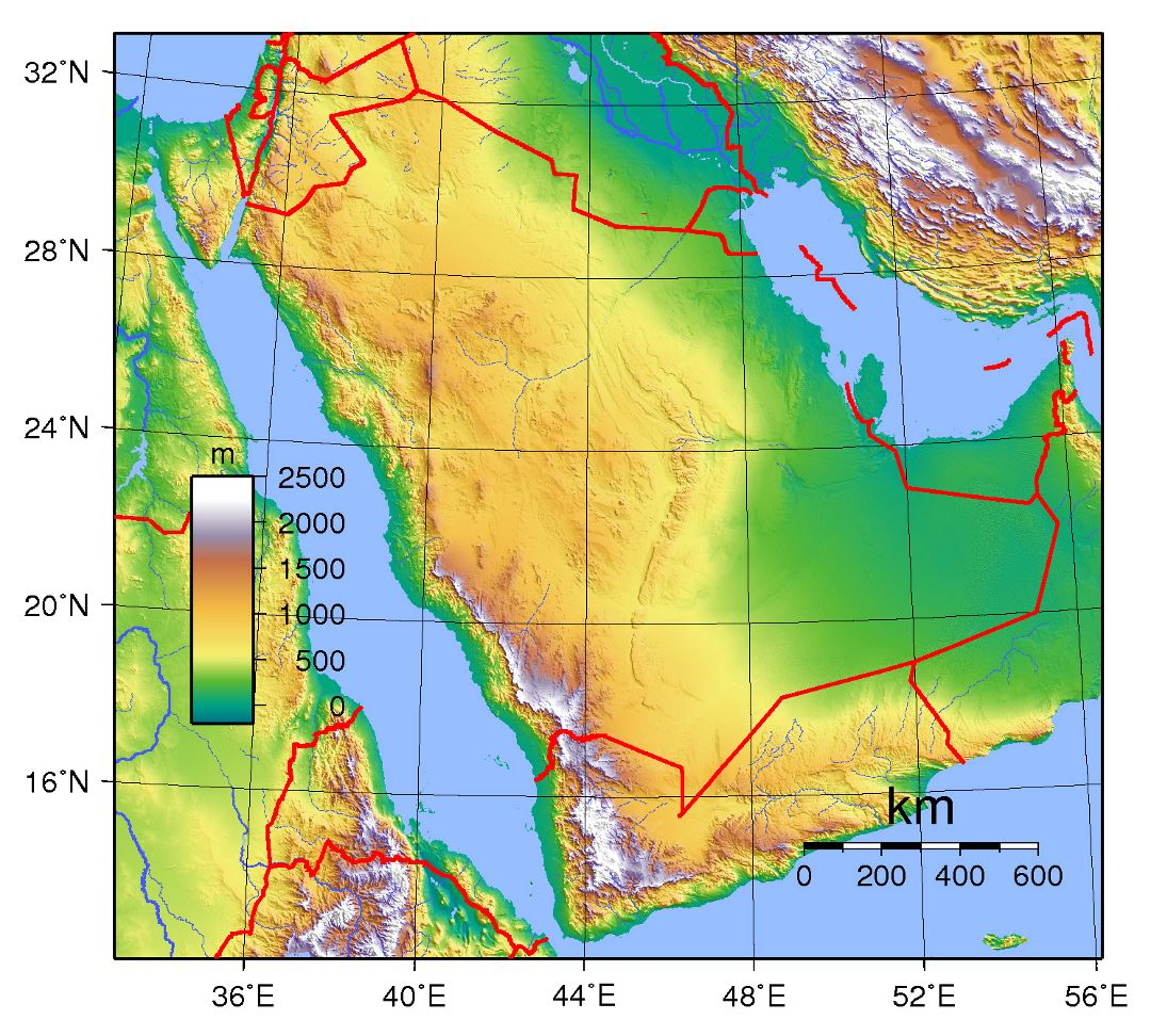 Large topographical map of Saudi Arabia