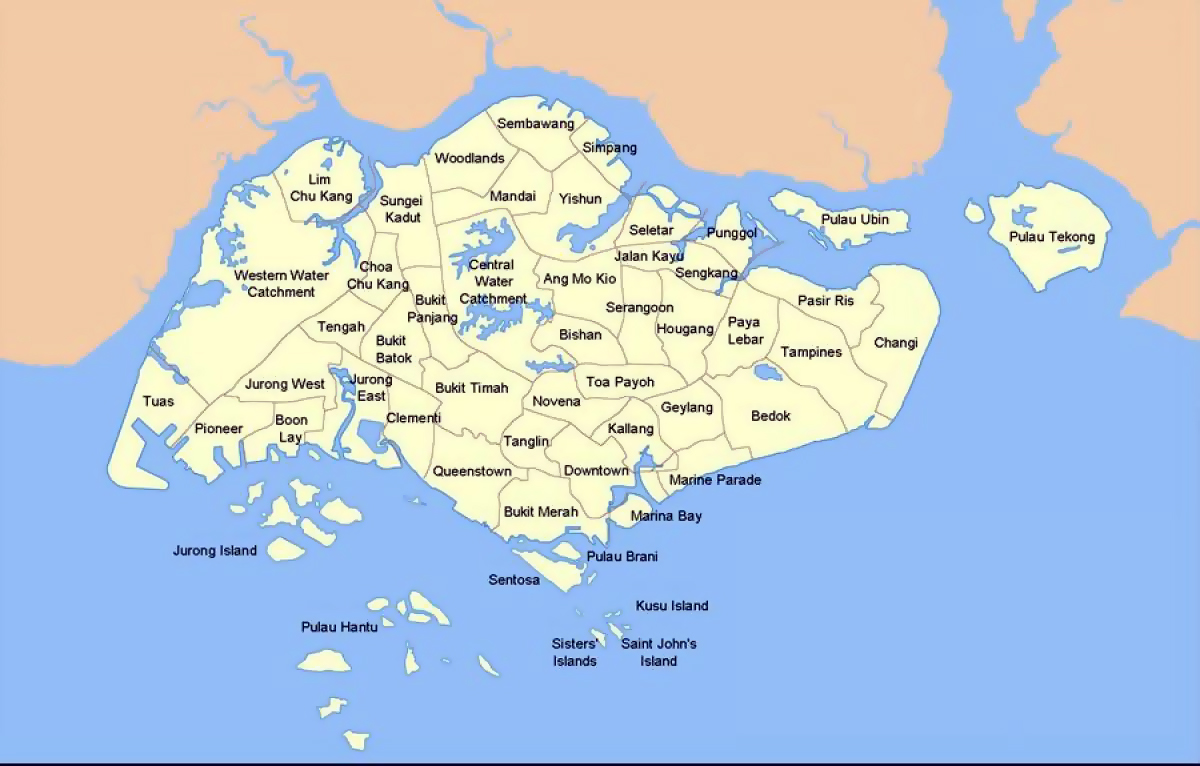 Detailed administrative divisions map of Singapore Singapore