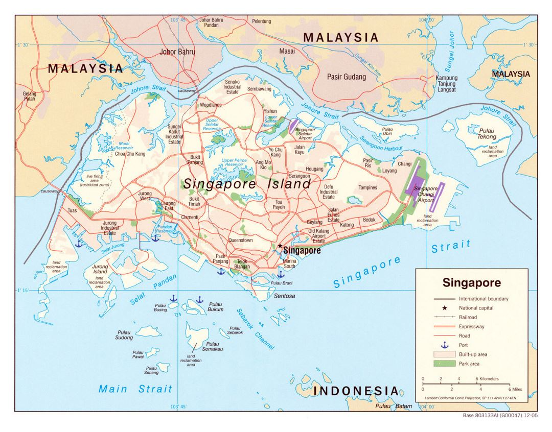 Detailed political map of Singapore with roads, railroads, airports, seaports and other marks - 2005
