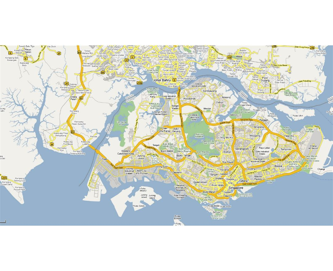 Detailed road map of Singapore