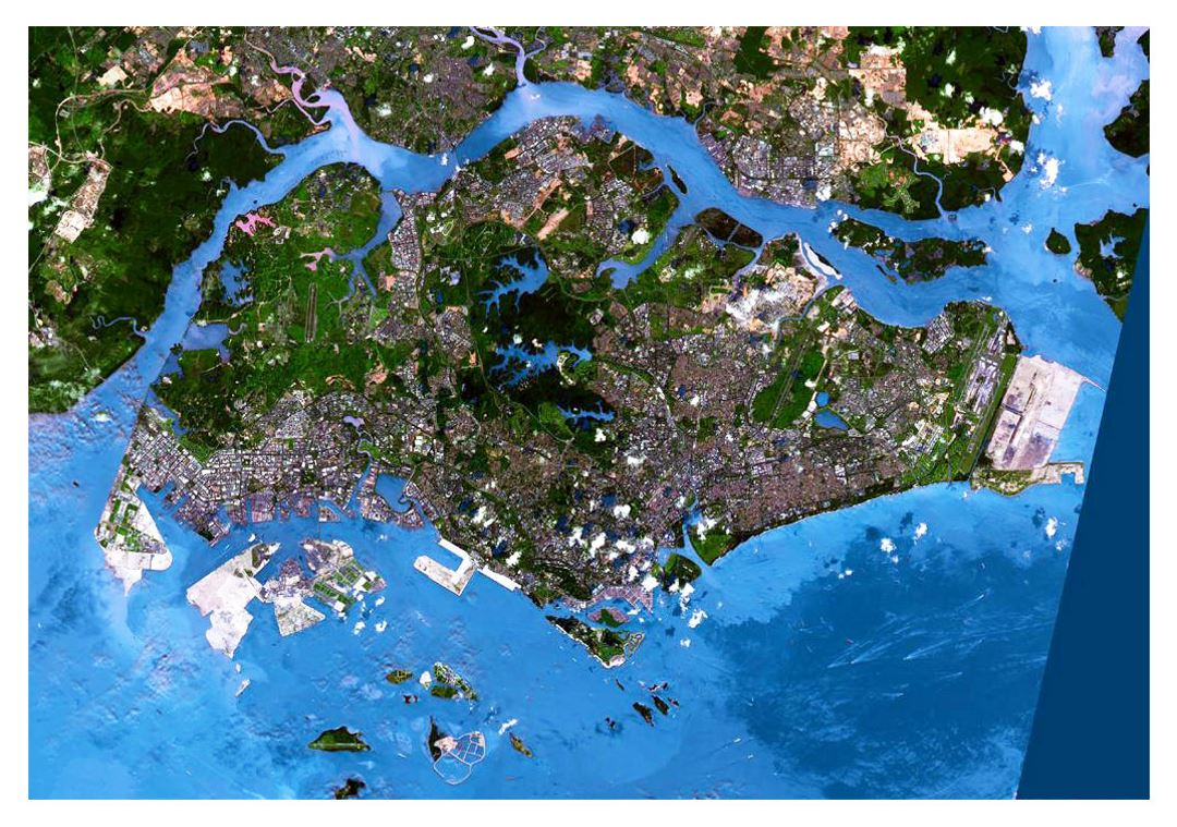 Detailed satellite map of Singapore
