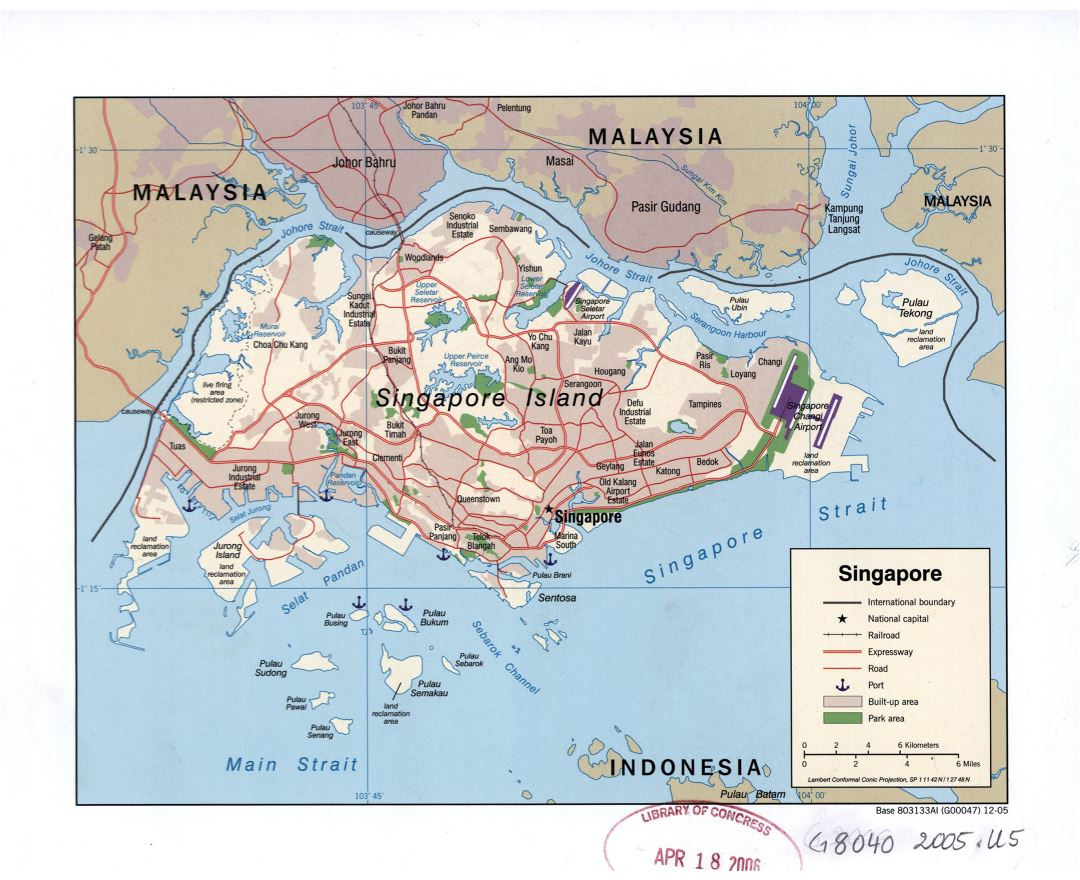 Large detailed political map of Singapore with relief, roads, railroads, airports, seaports and other marks - 2005