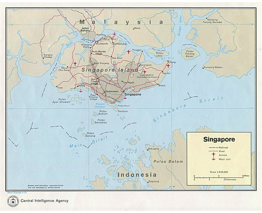 Large detailed political map of Singapore with roads, railroads, airfields and major ports - 1973