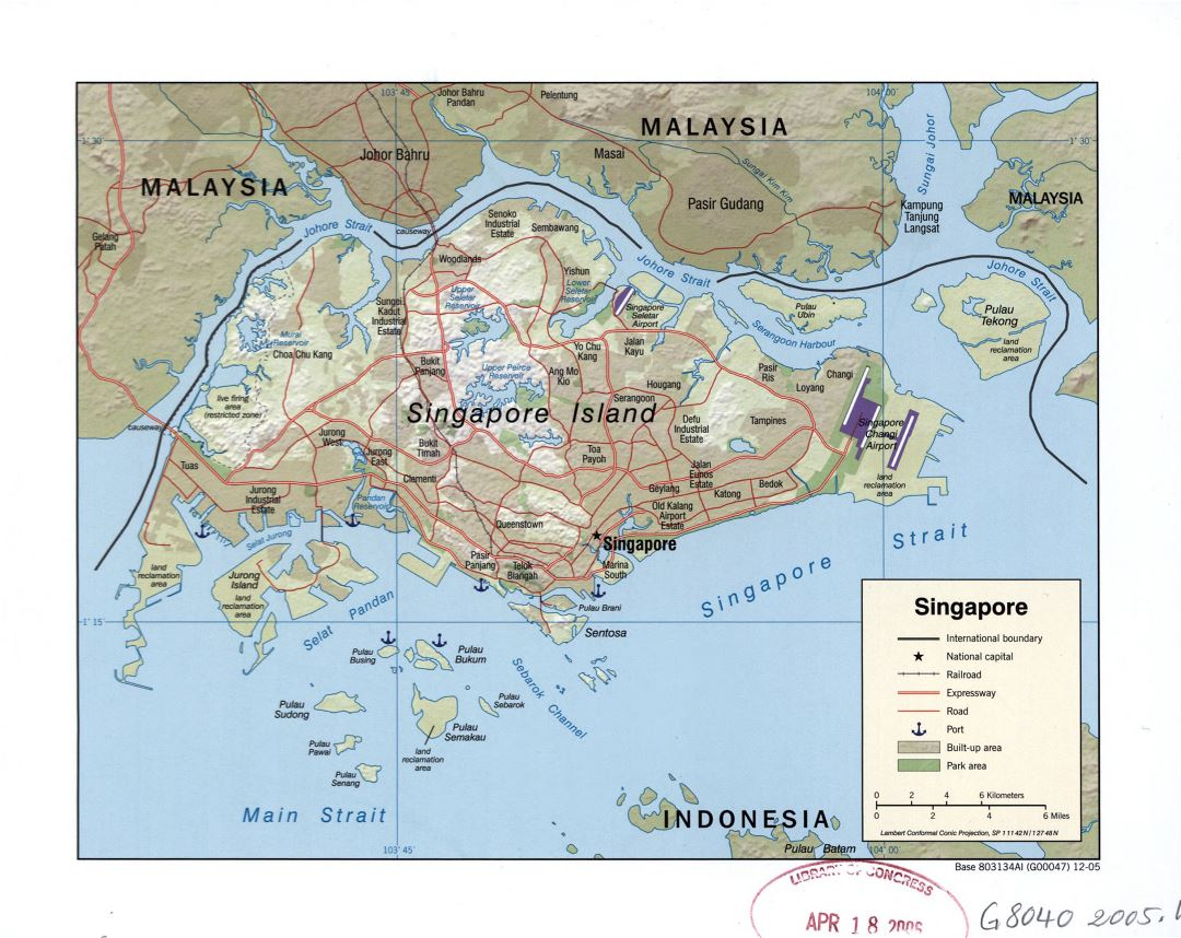 Large detailed political map of Singapore with roads, railroads, airports, seaports and other marks - 2005